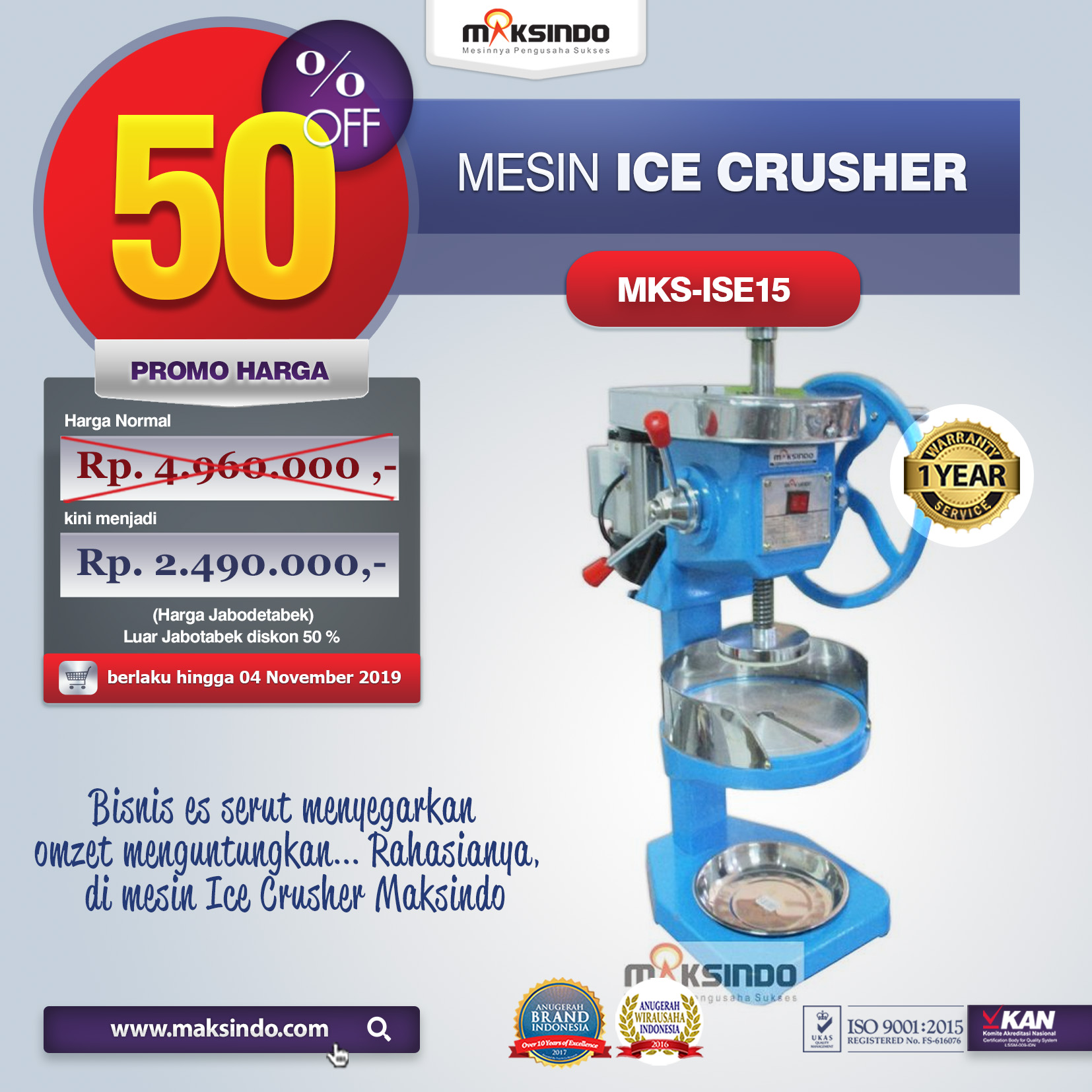 MKS ISE15 mesin ice crusher