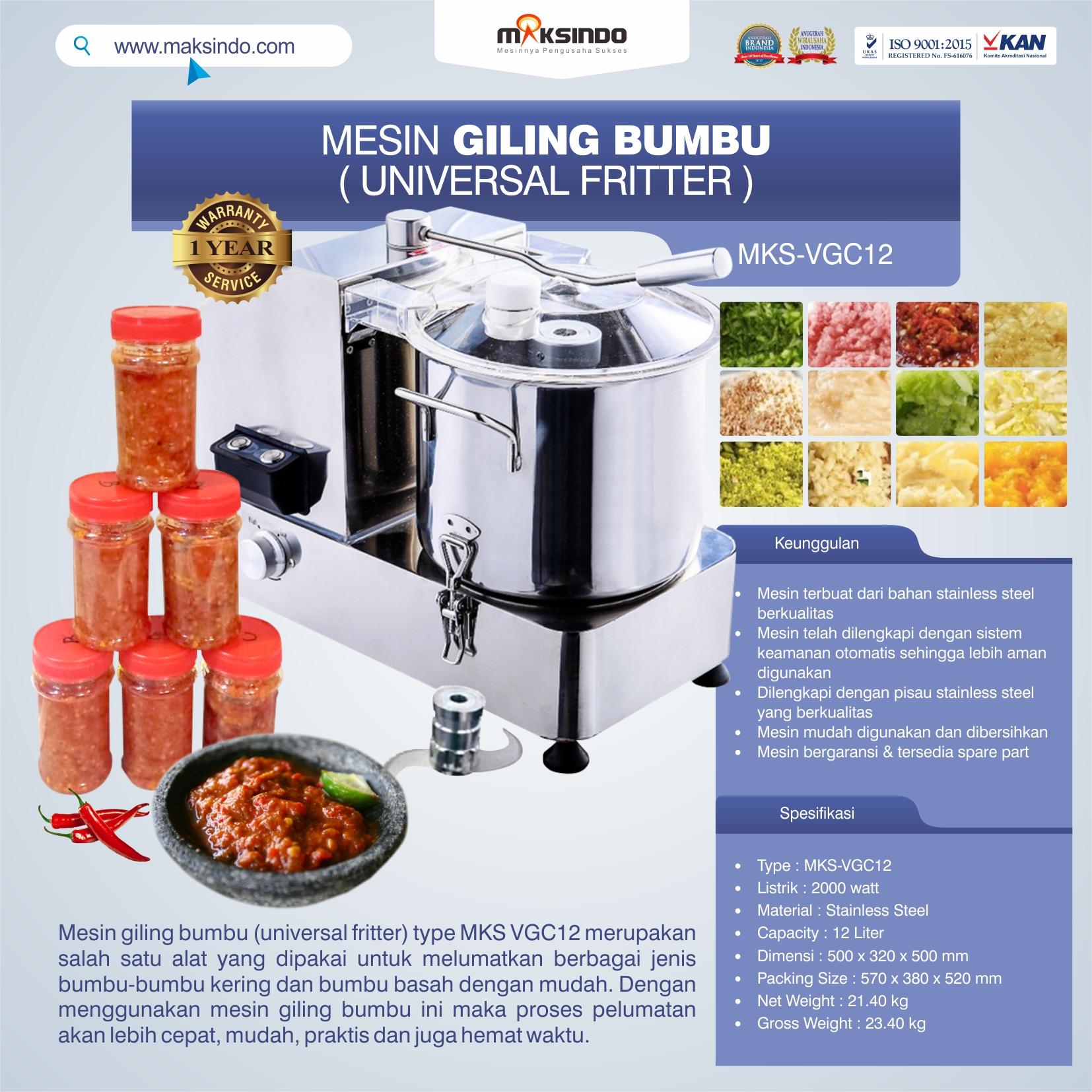 Jual Mesin Giling Bumbu (Universal Fritter) MKS VGC12 di Tangerang