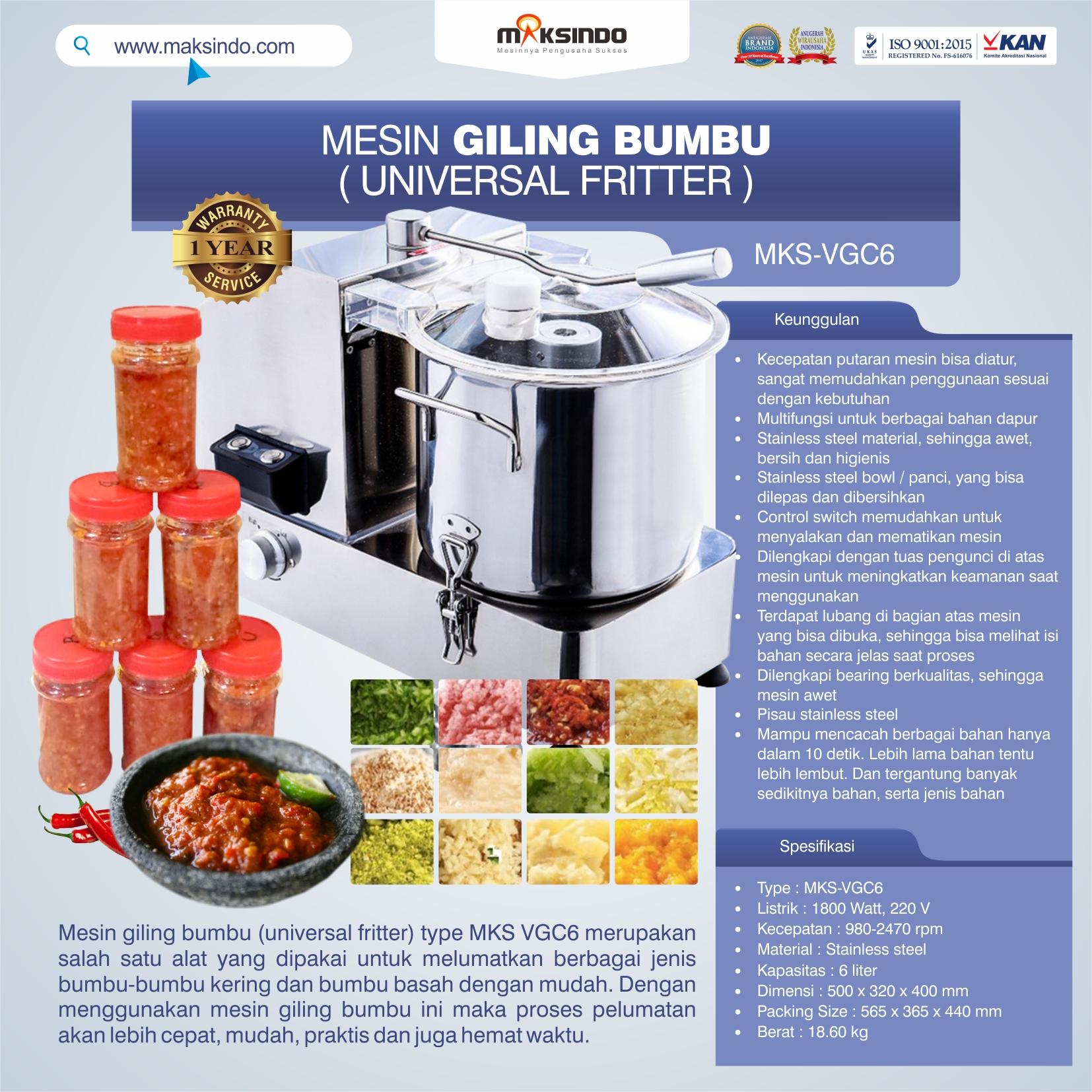 Jual Mesin Universal Fritter 6 liter (VGC6) di Tangerang