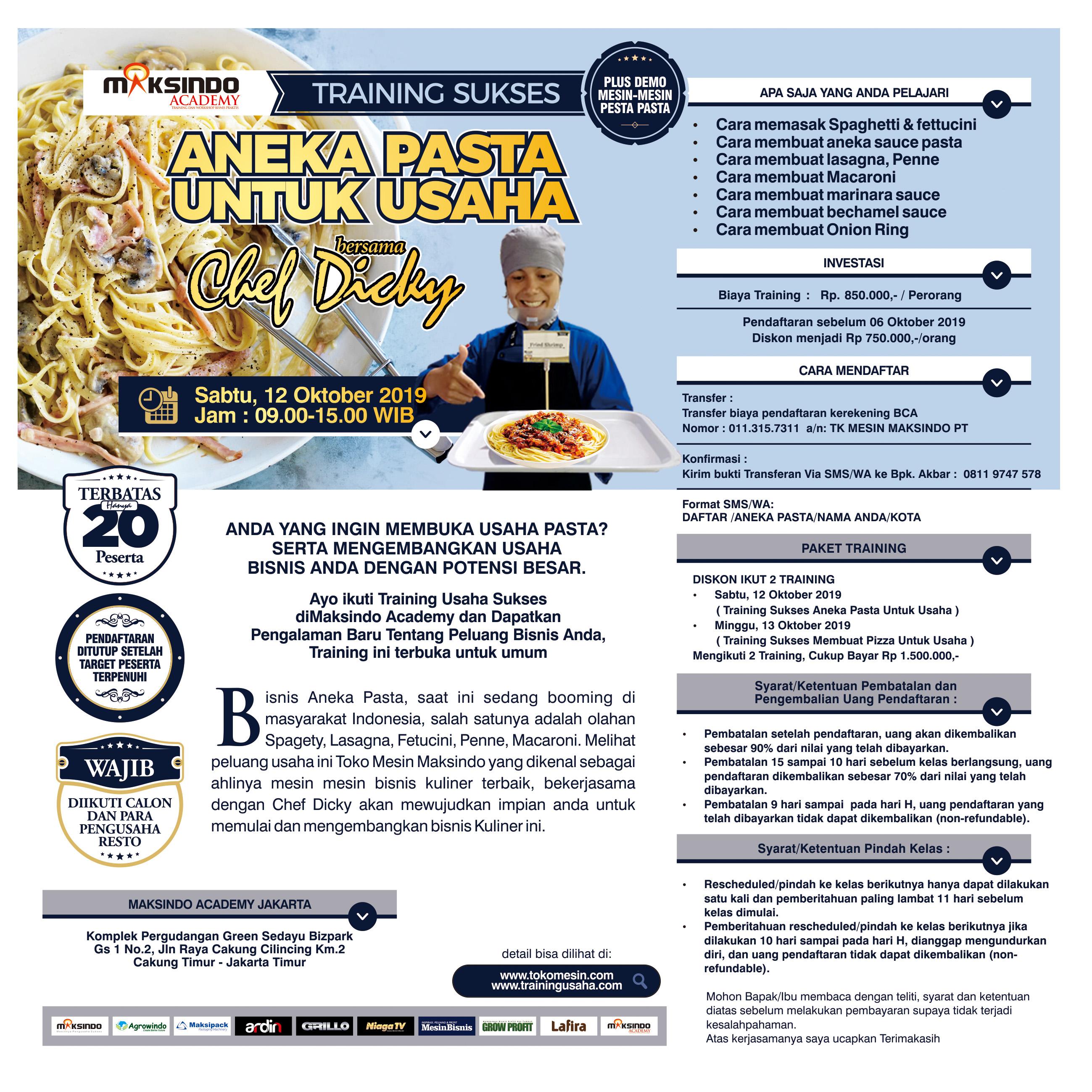 Training Sukses Aneka Pasta Untuk Usaha, Sabtu 12 Oktober 2019