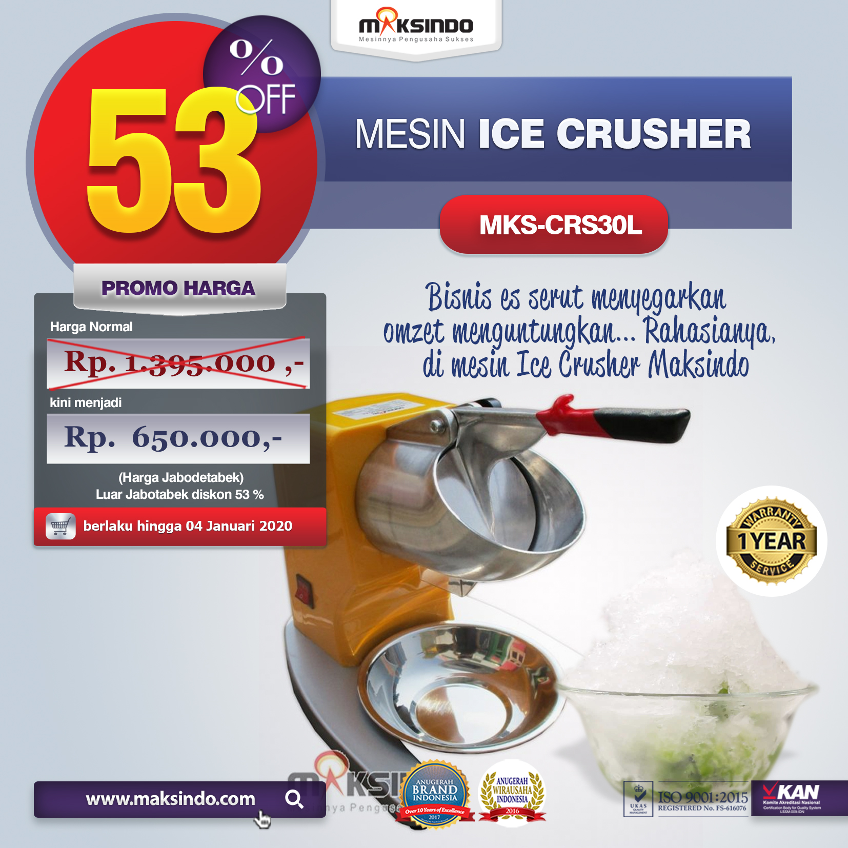 MKS CRS30L mesin ice crusher