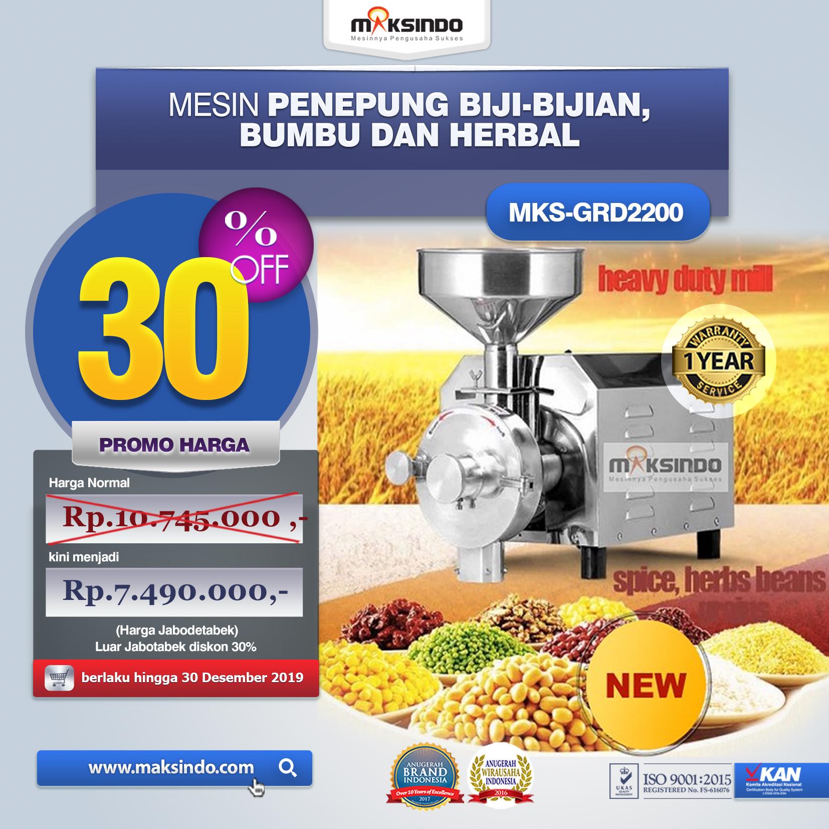 MKS GRD2200 Mesin Penepung Biji bumbu dan herbal