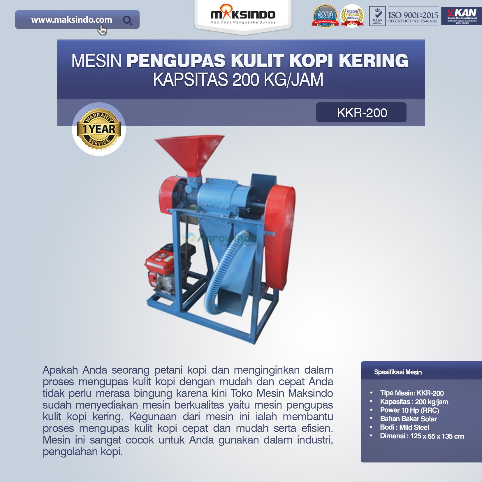 Mesin Pengupas Kulit Kopi Kering KKR-200