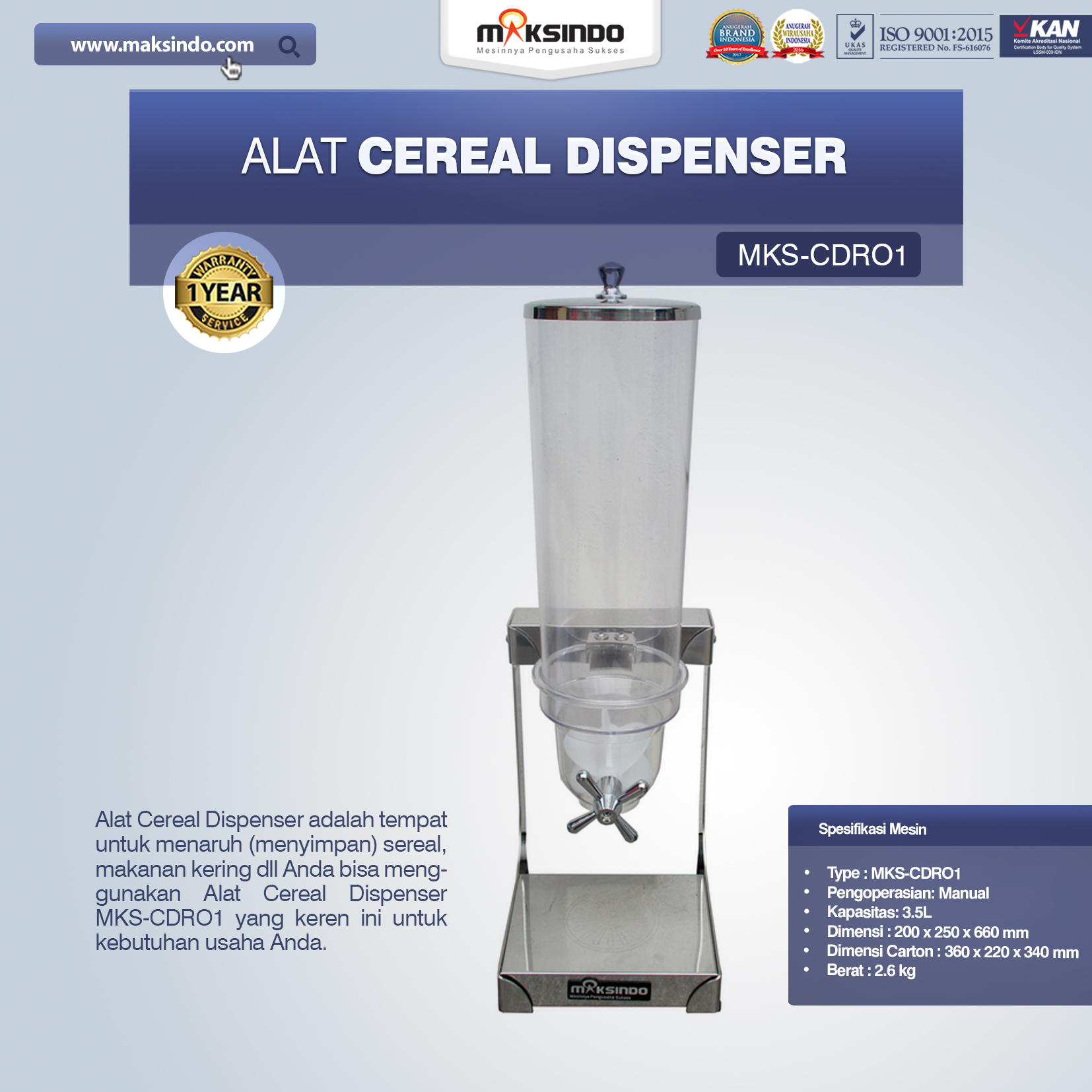 Alat Cereal Dispenser MKS-CDRO1