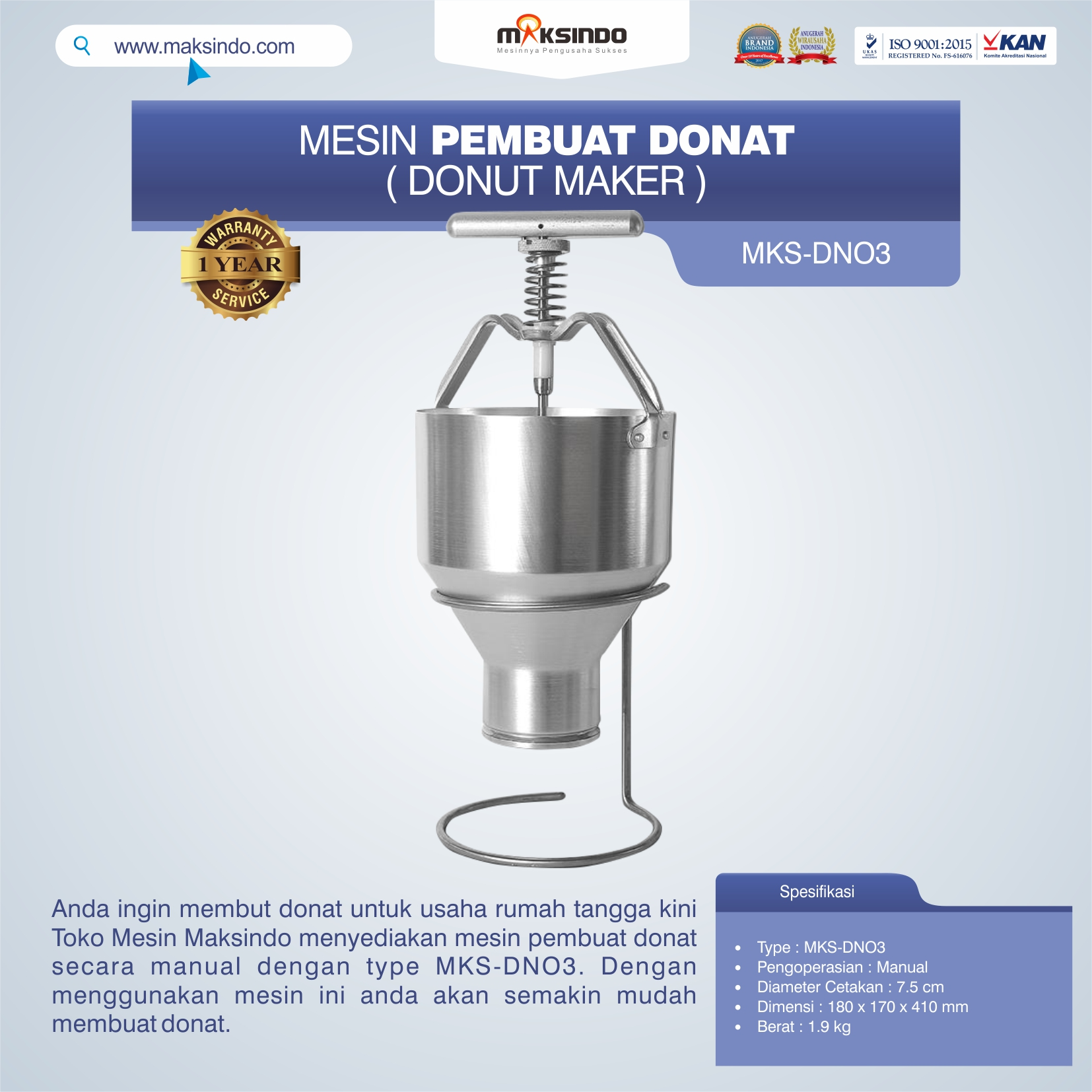 Jual Mesin Pembuat Donat (Donut Maker) MKS-DN03 di Tangerang
