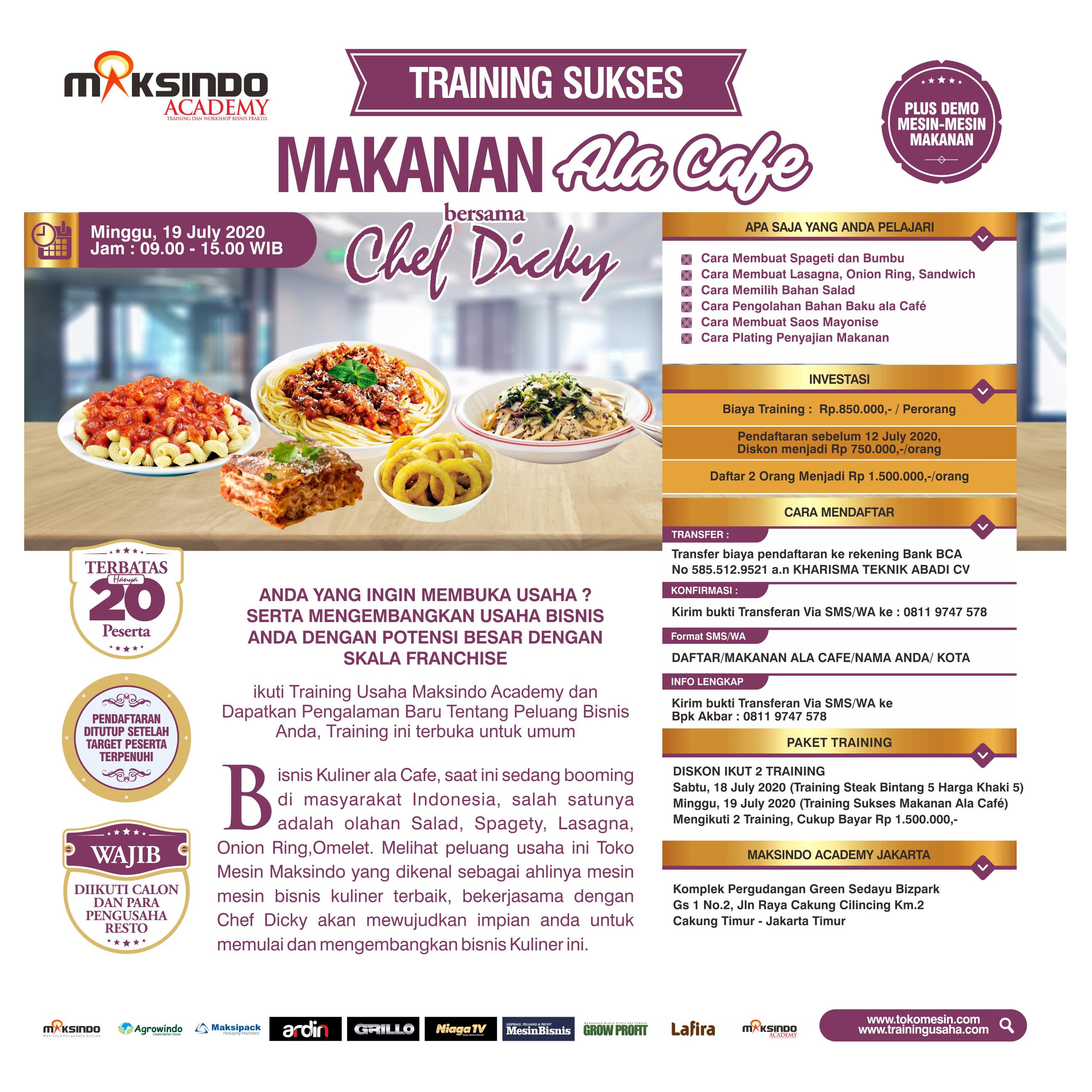 Training Usaha Makanan Ala Cafe Minggu, 19 July 2020