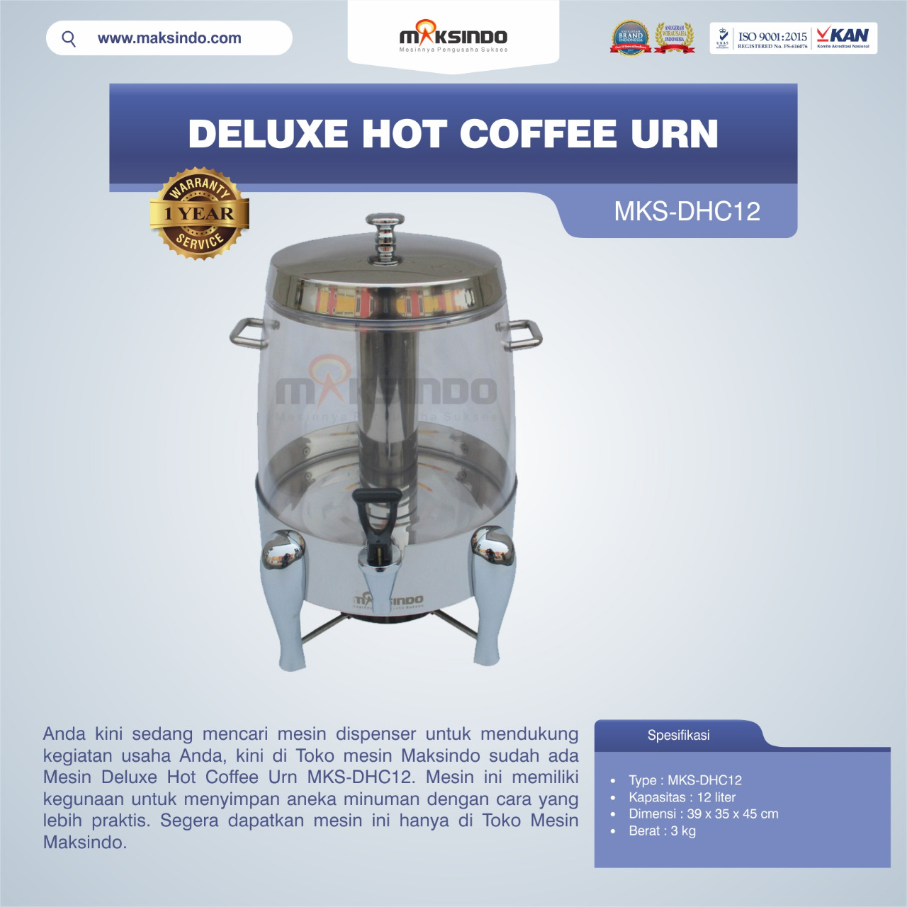 Deluxe Hot Coffee Urn MKS-DHC12