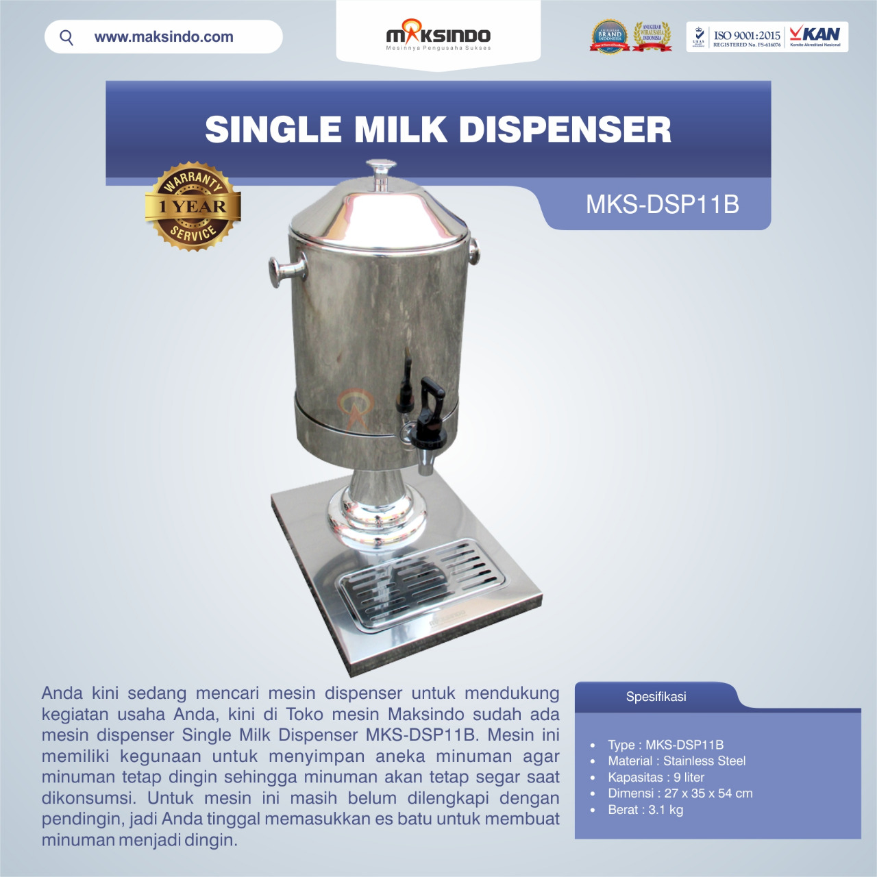 Jual Single Milk Dispenser MKS-DSP11B di Tangerang