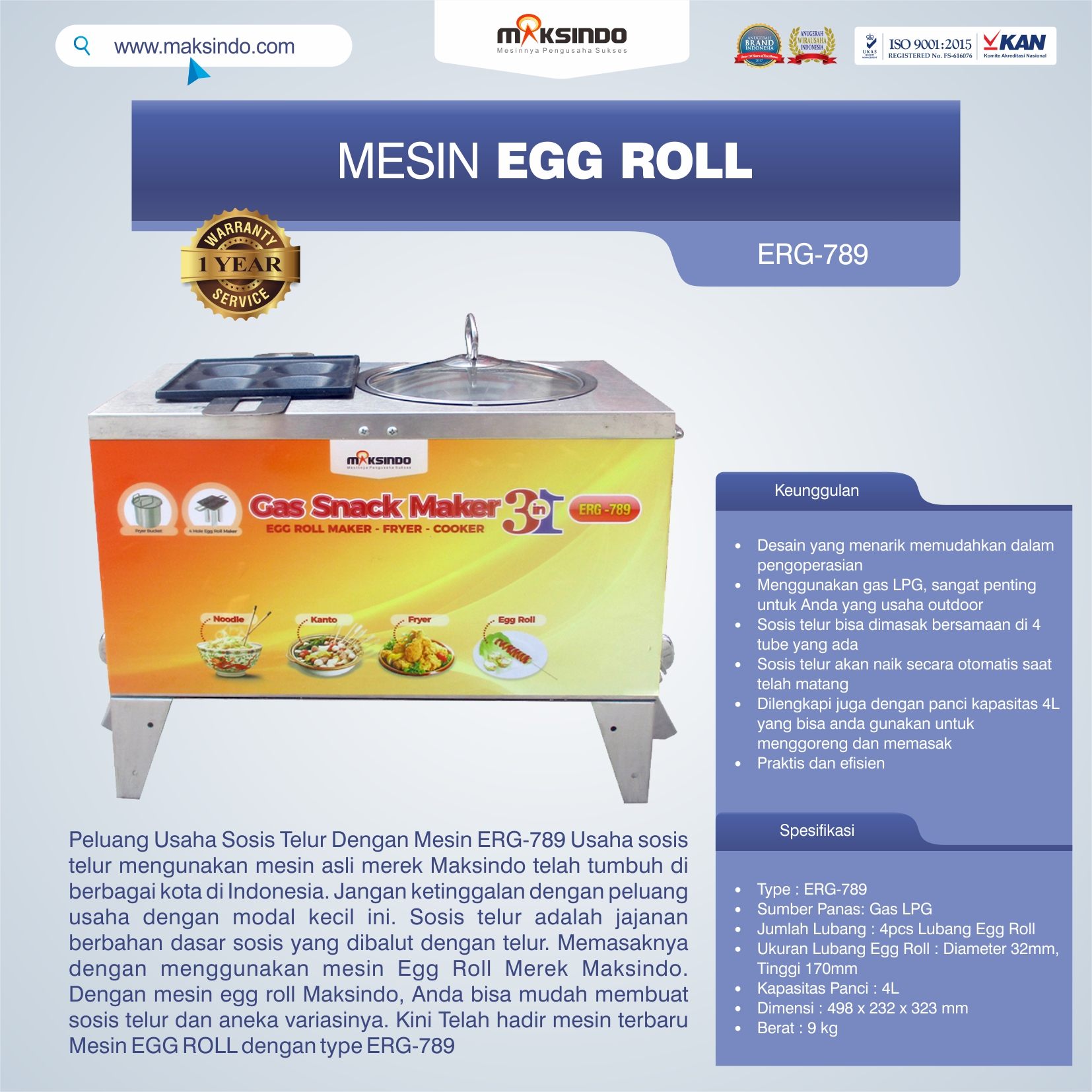ERG-789 Mesin Egg Roll