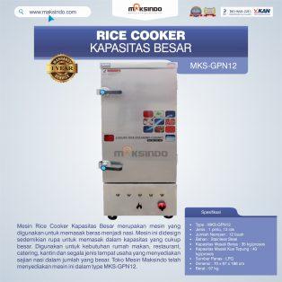 Jual Mesin Rice Cooker Kapasitas Besar MKS-GPN12 di Tangerang