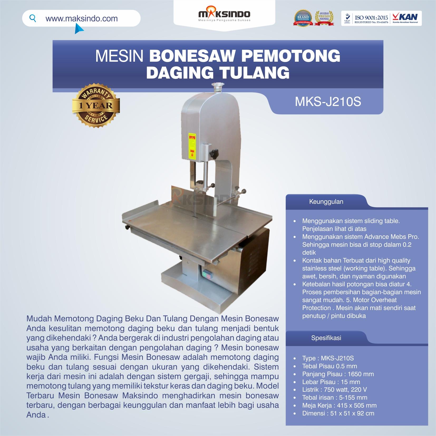 MKS-J210S Mesin Bonesaw Pemotong Daging Tulang