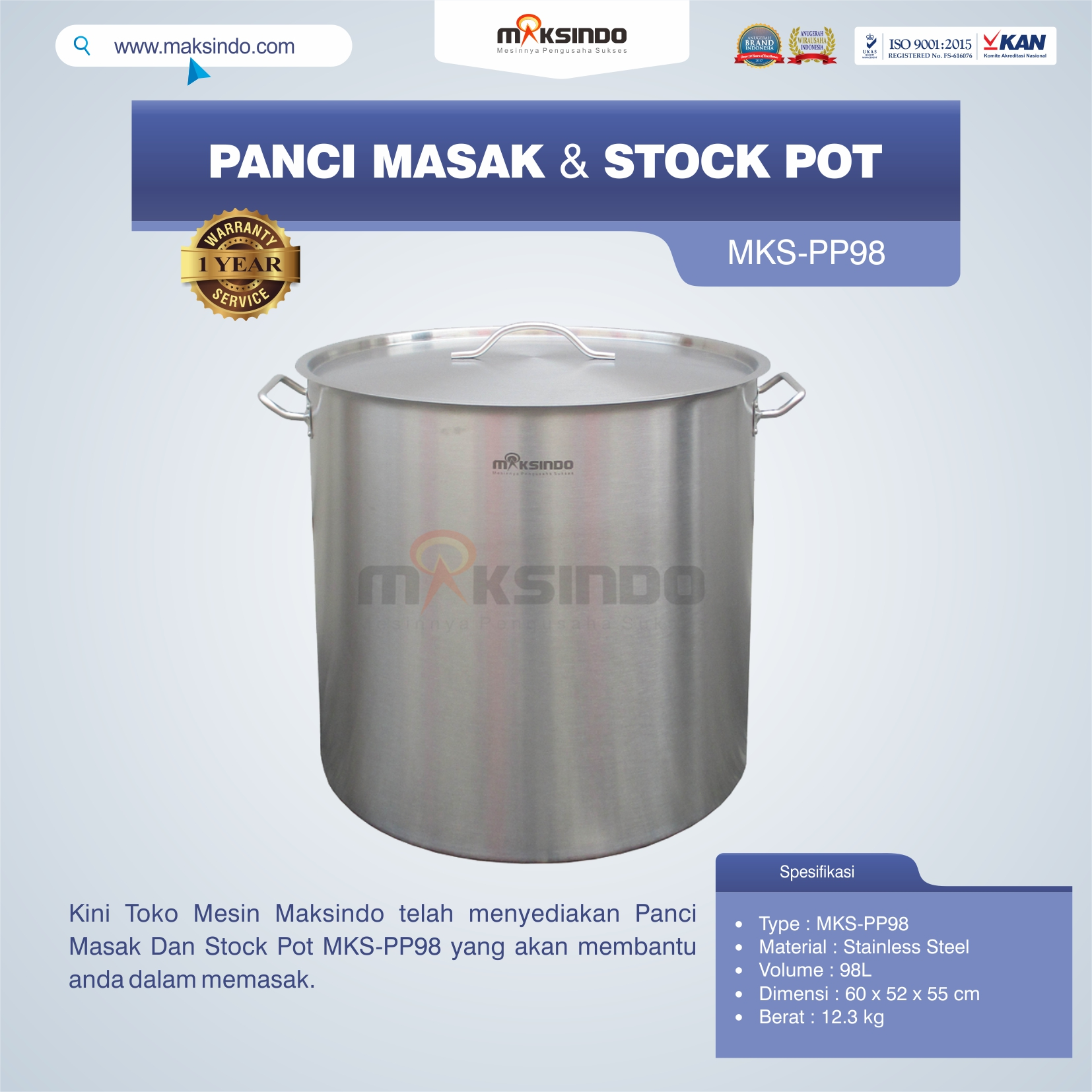 MKS-PP98 Panci Masak Dan Stock Pot
