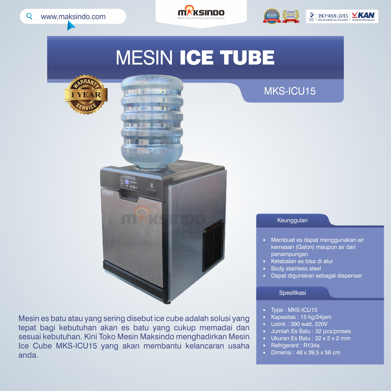 Mesin Ice Cube MKS-ICU15