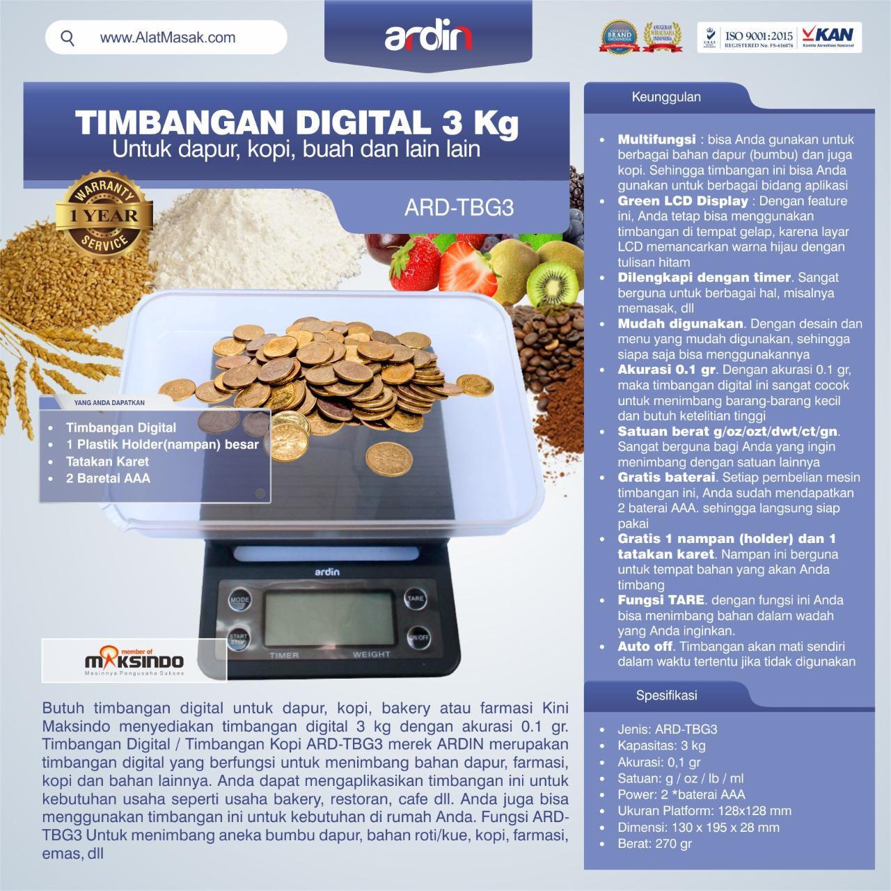 Jual Timbangan Digital 3 kg / Timbangan Kopi ARD-TBG3 di Tangerang