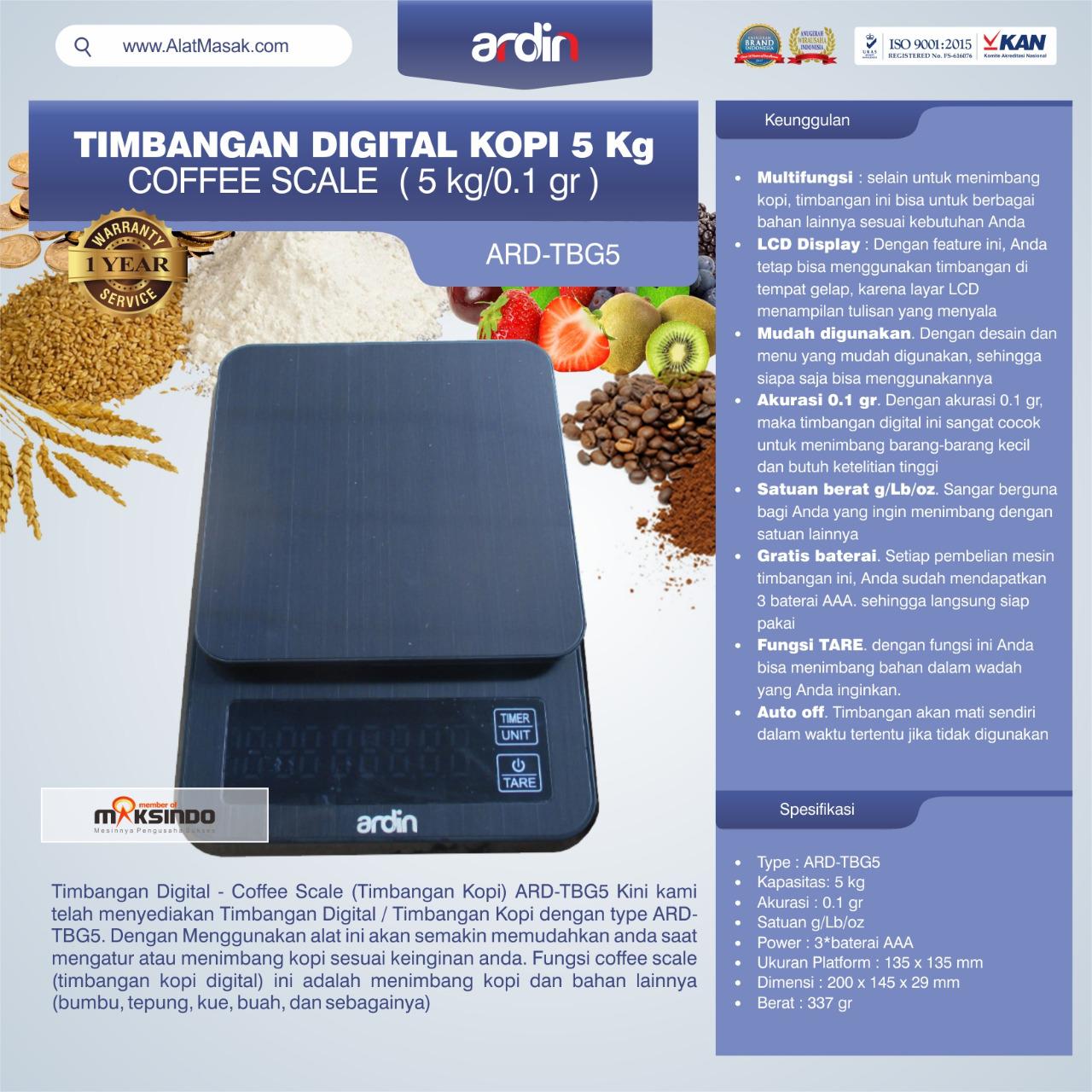 Jual Timbangan Digital Kopi 5 kg ARD-TBG5 (coffee scale) di Tangerang