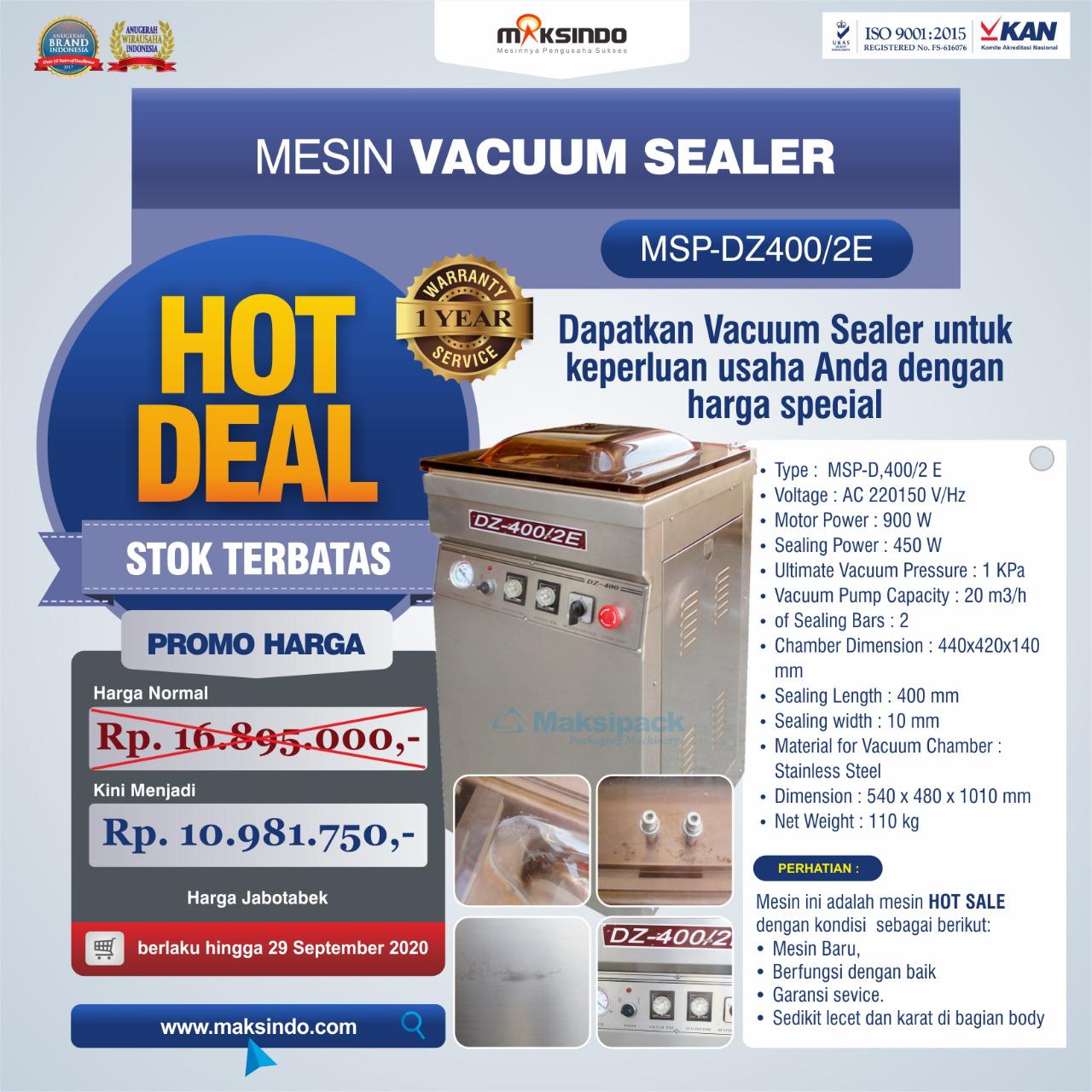 Jual Hot Deal Mesin Vacuum Sealer Type MSP-DZ400/2 E di Tangerang