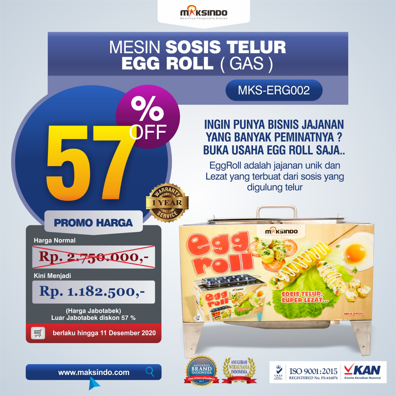 Jual Mesin Pembuat Egg Roll (Gas) MKS-ERG002 di Tangerang
