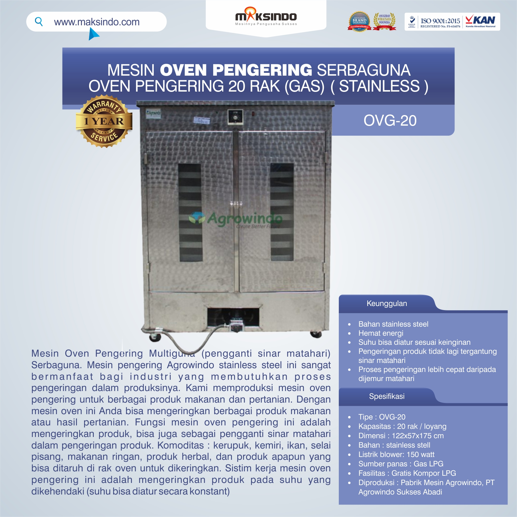 OVG-20 Mesin Oven Pengering Serbaguna 20 Rak (Gas) (Stainless )