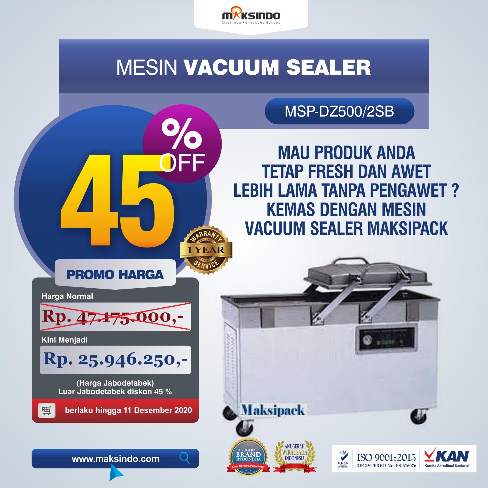 Jual Mesin Vacuum Sealer Type DZ-500/2SB di Tangerang