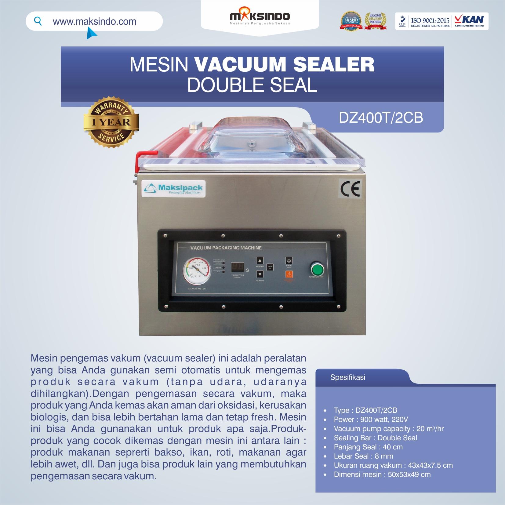 DZ400T 2CB Vacuum Sealer Double Seal