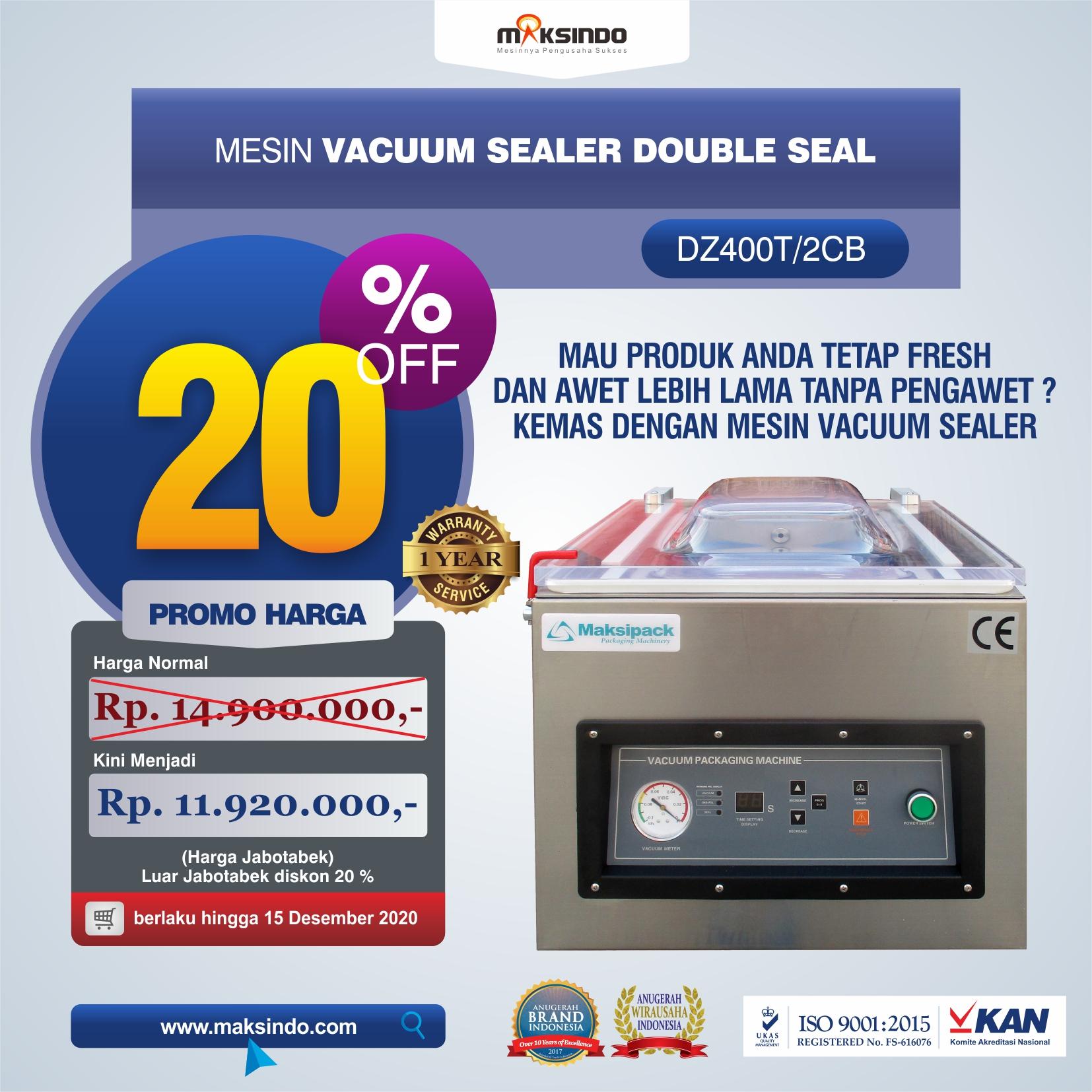 Jual Vacuum Sealer Double Seal DZ400T/2CB di Tangerang