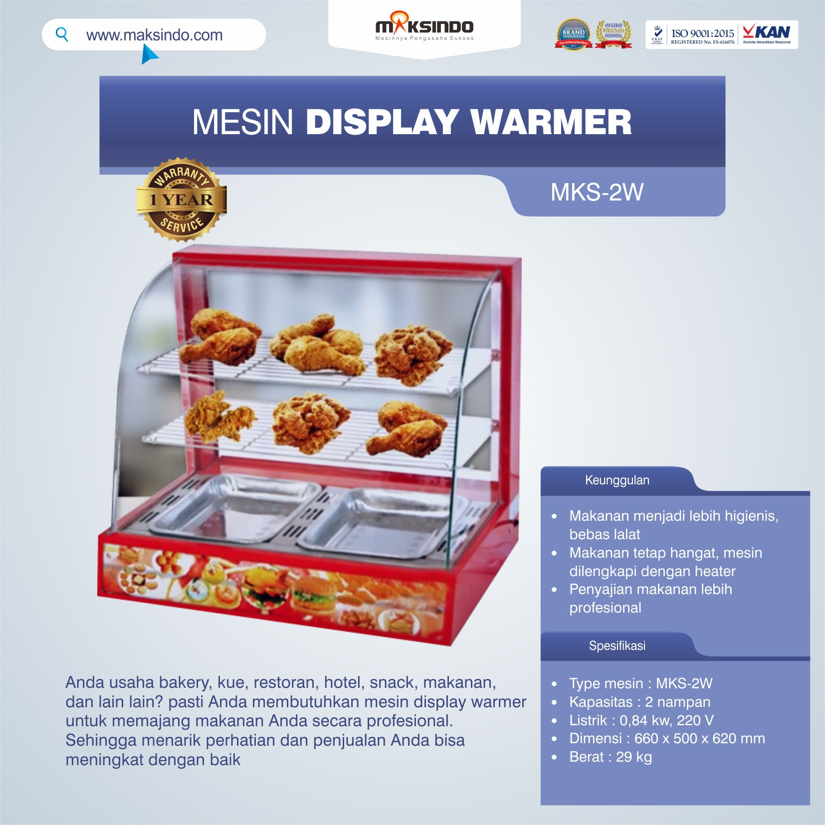MKS-2W Mesin Display Warmer