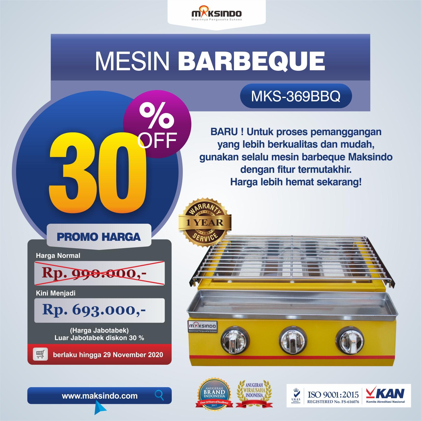 Jual Mesin Pemanggang Sate – BBQ 3 Tungku (Gas) MKS-369BBQ di Tangerang