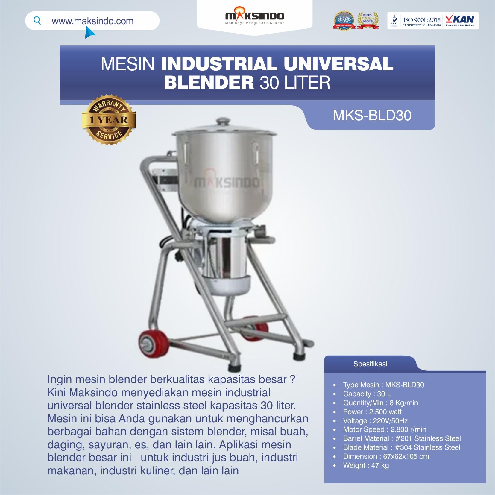 Jual Industrial Universal Blender 30 Liter MKS-BLD30 di Tangerang