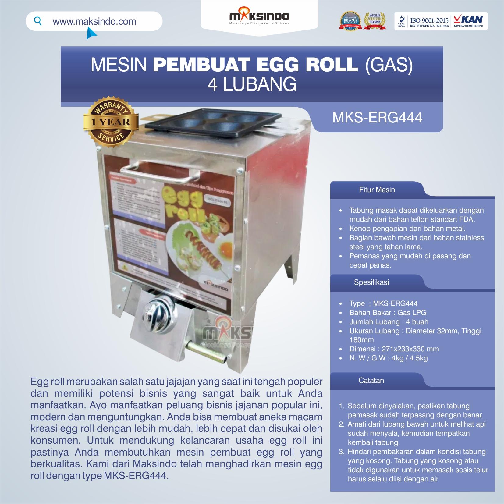 MKS-ERG444 Mesin Pembuat Egg Roll (Gas) 4 Lubang