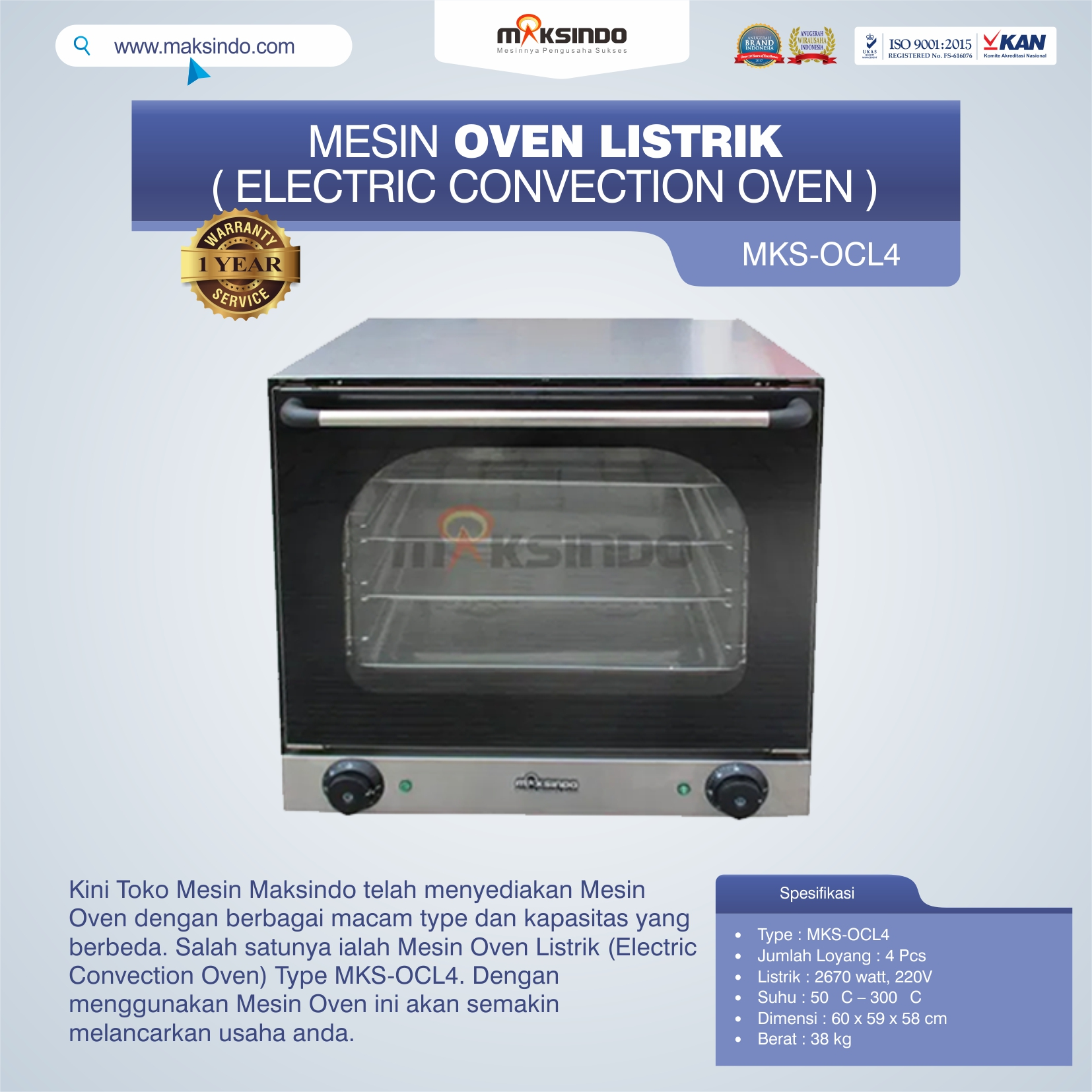 Mesin Oven Listrik (Electric Convection Oven) MKS-OCL4