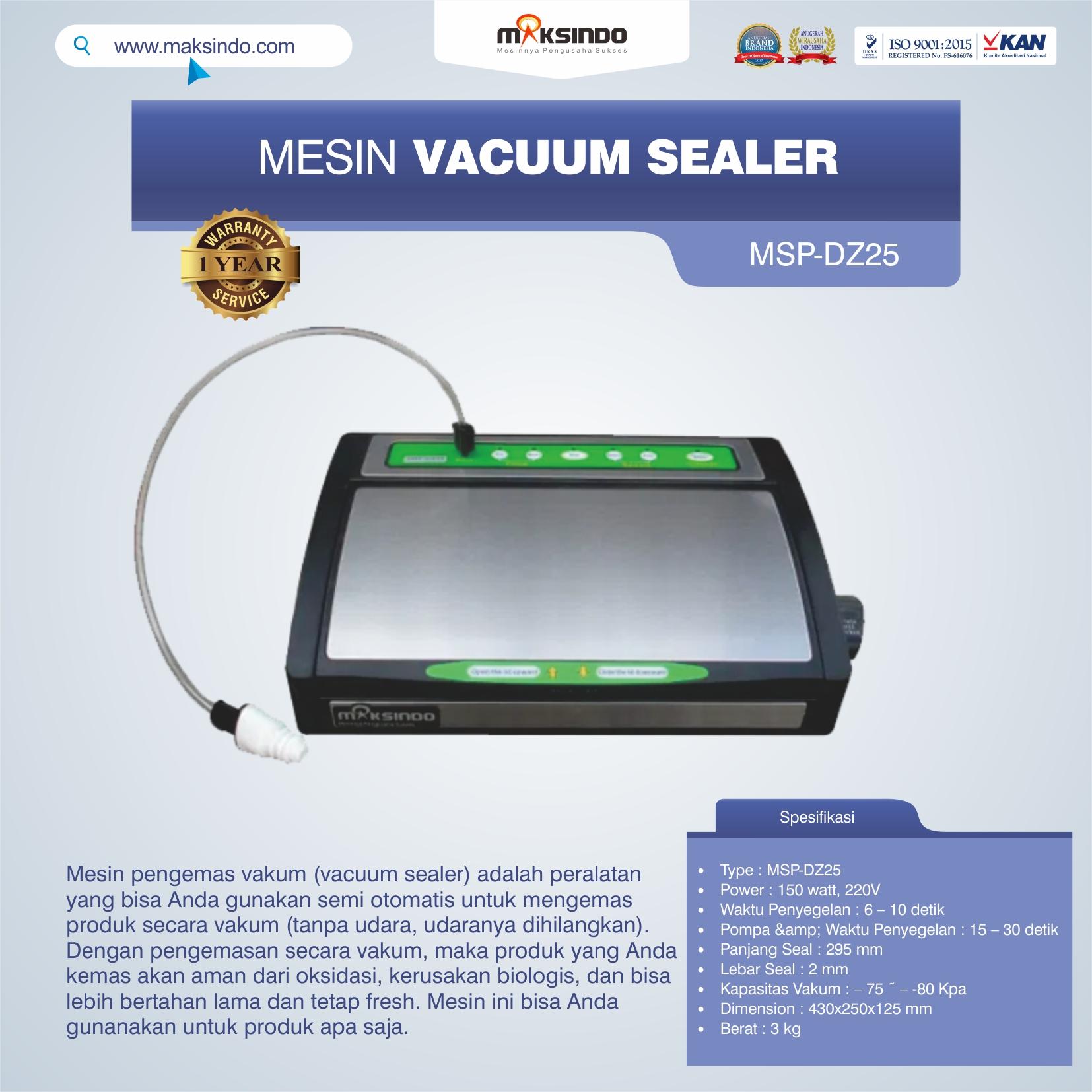 Jual Vacuum Sealer MSP-DZ25 di Tangerang