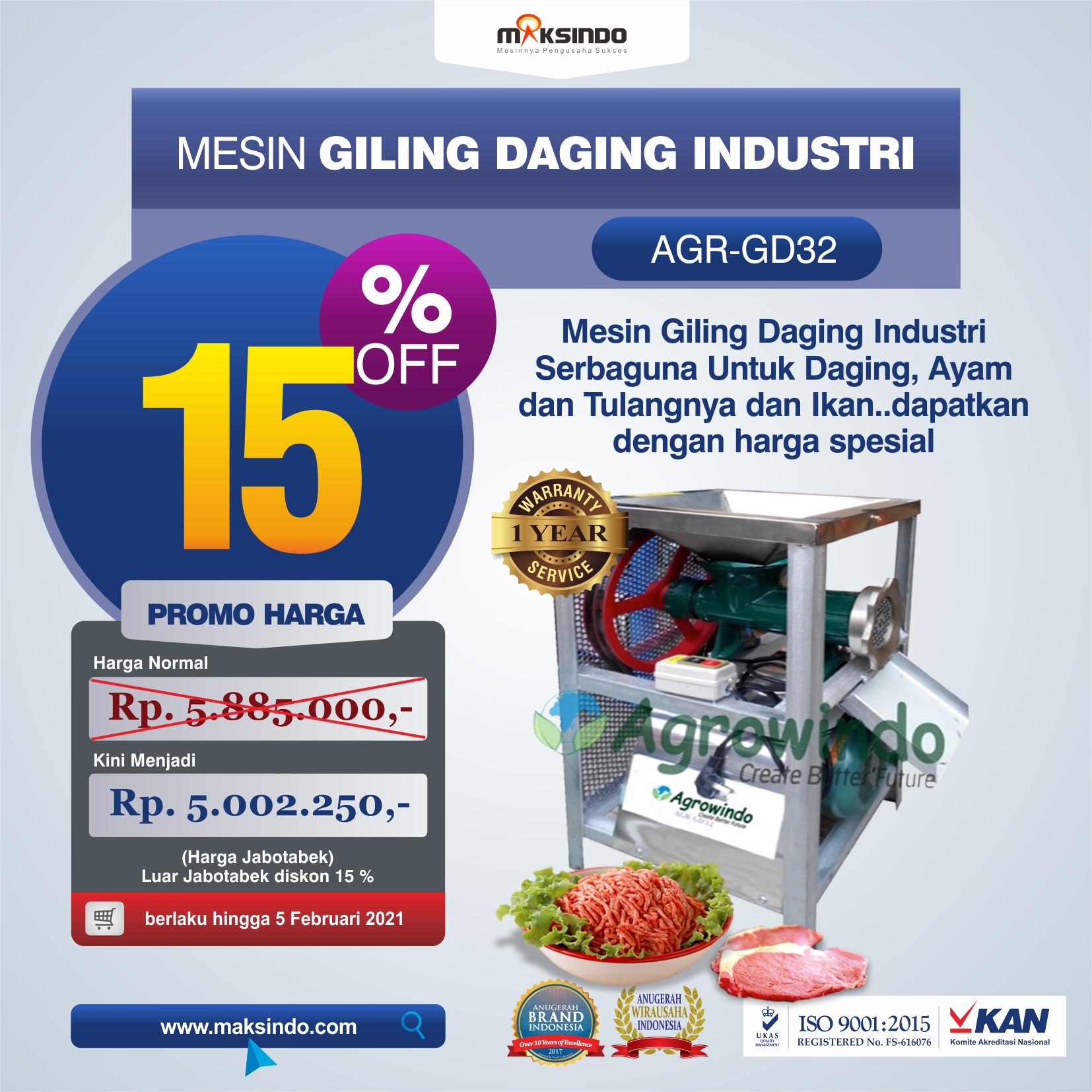 Jual Mesin Giling Daging Industri (AGR-GD32) di Tangerang