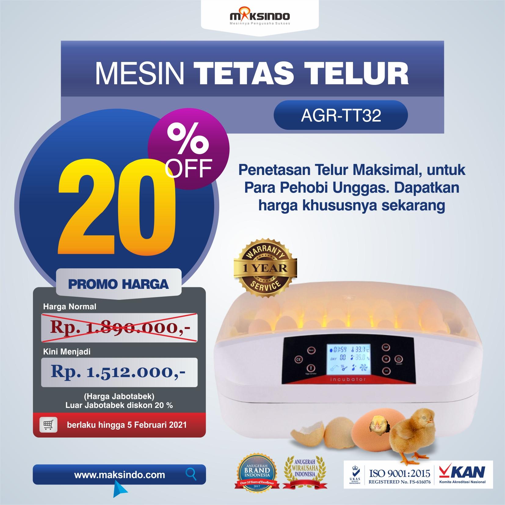 Jual Mesin Penetas Telur 32 Butir (AGR-TT32) di Tangerang