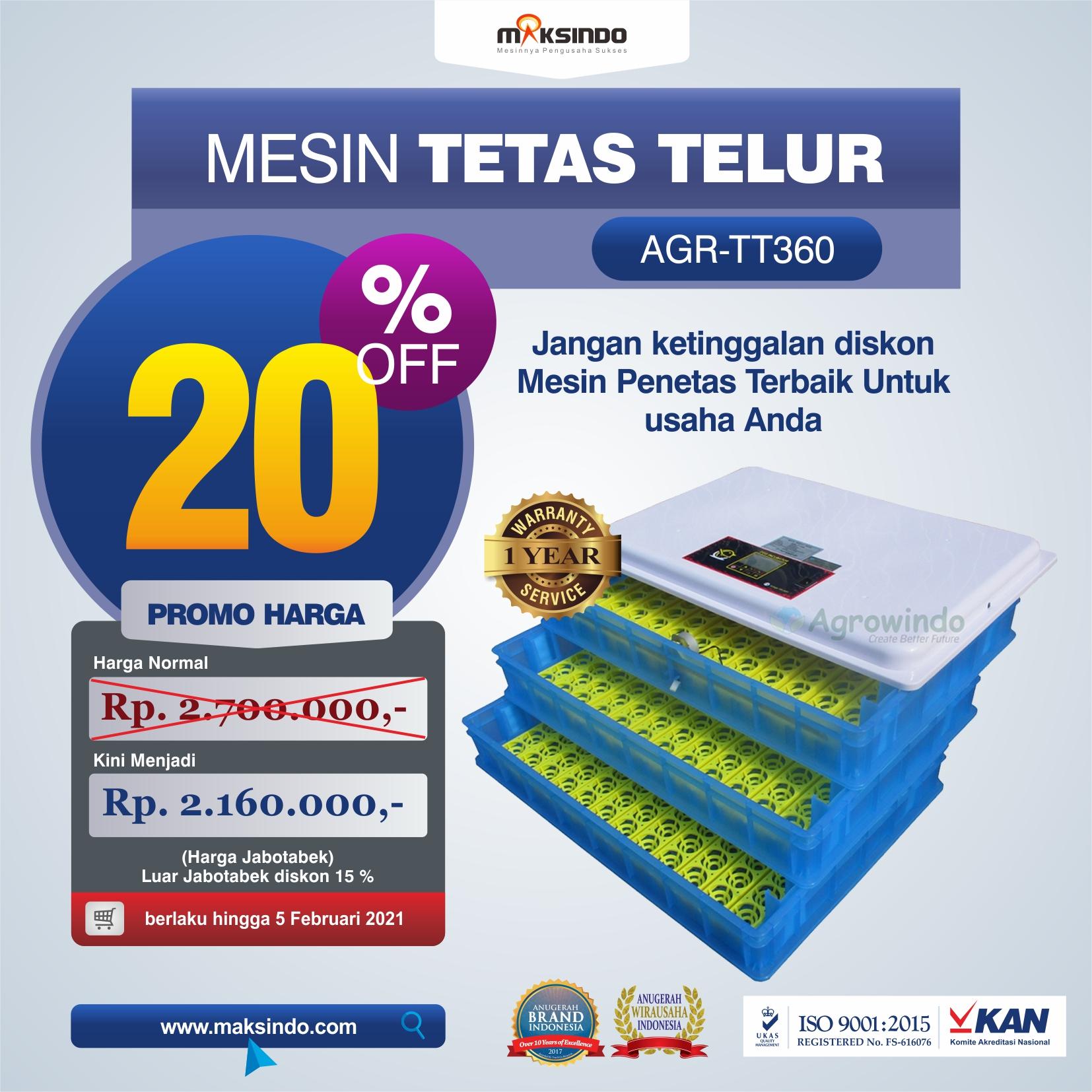 Jual Mesin Penetas Telur AGR-TT360 di Tangerang
