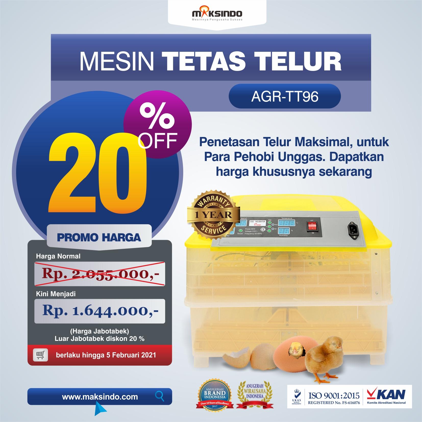 Jual Mesin Penetas Telur 96 Butir Otomatis – AGR-TT96 di Tangerang