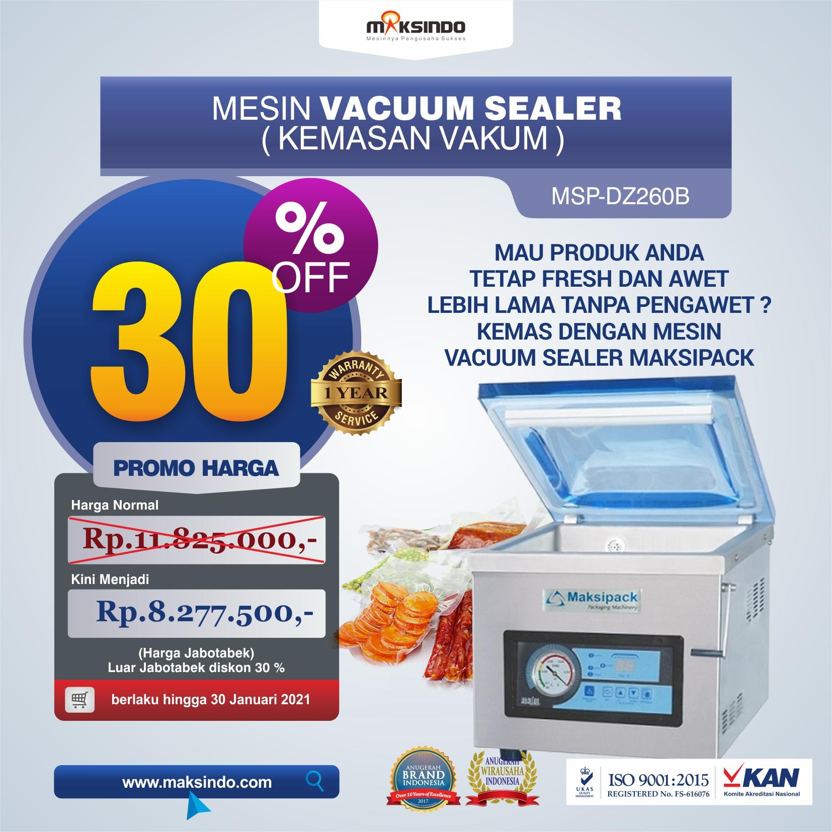 Jual Mesin Vacuum Sealer Singgle Seal MSP-DZ260B di Tangerang