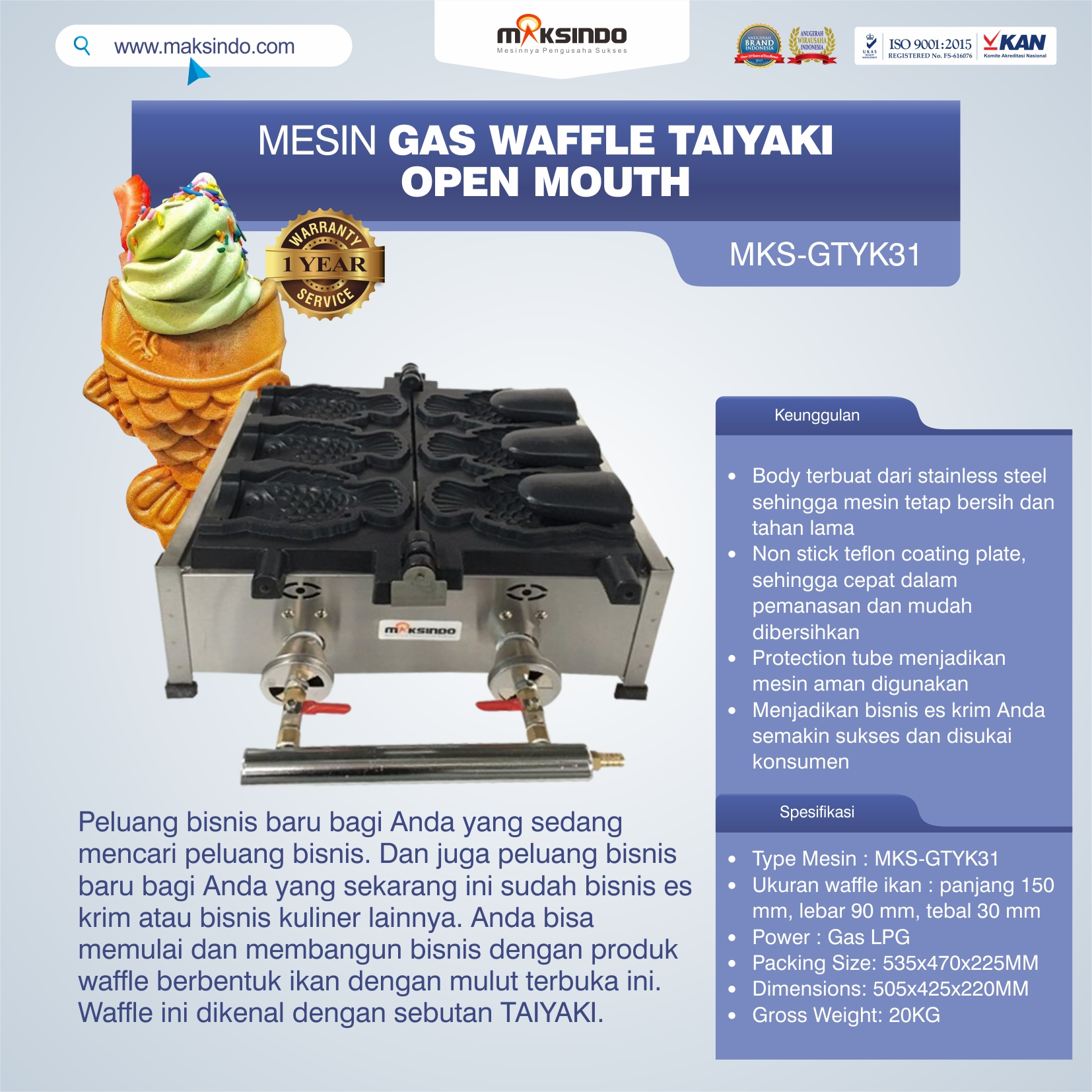 Jual Mesin Gas Waffle Taiyaki Open Mouth (GTYK31) di Tangerang