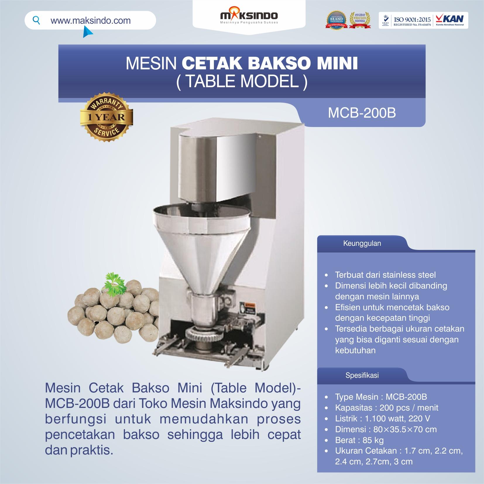 Jual Mesin Cetak Bakso Mini (Table Model) – MCB-200B di Tangerang