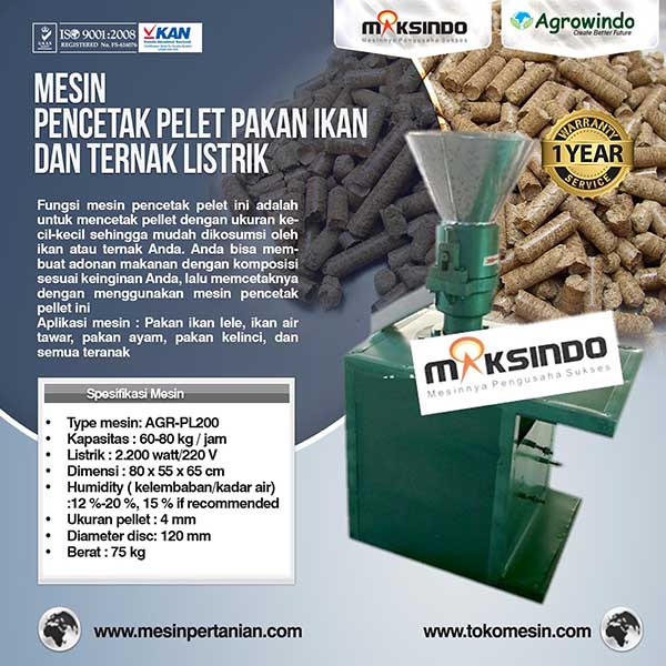 Jual Mesin Cetak Pelet Pakan Ikan Dan Ternak Listrik Agr Pl200
