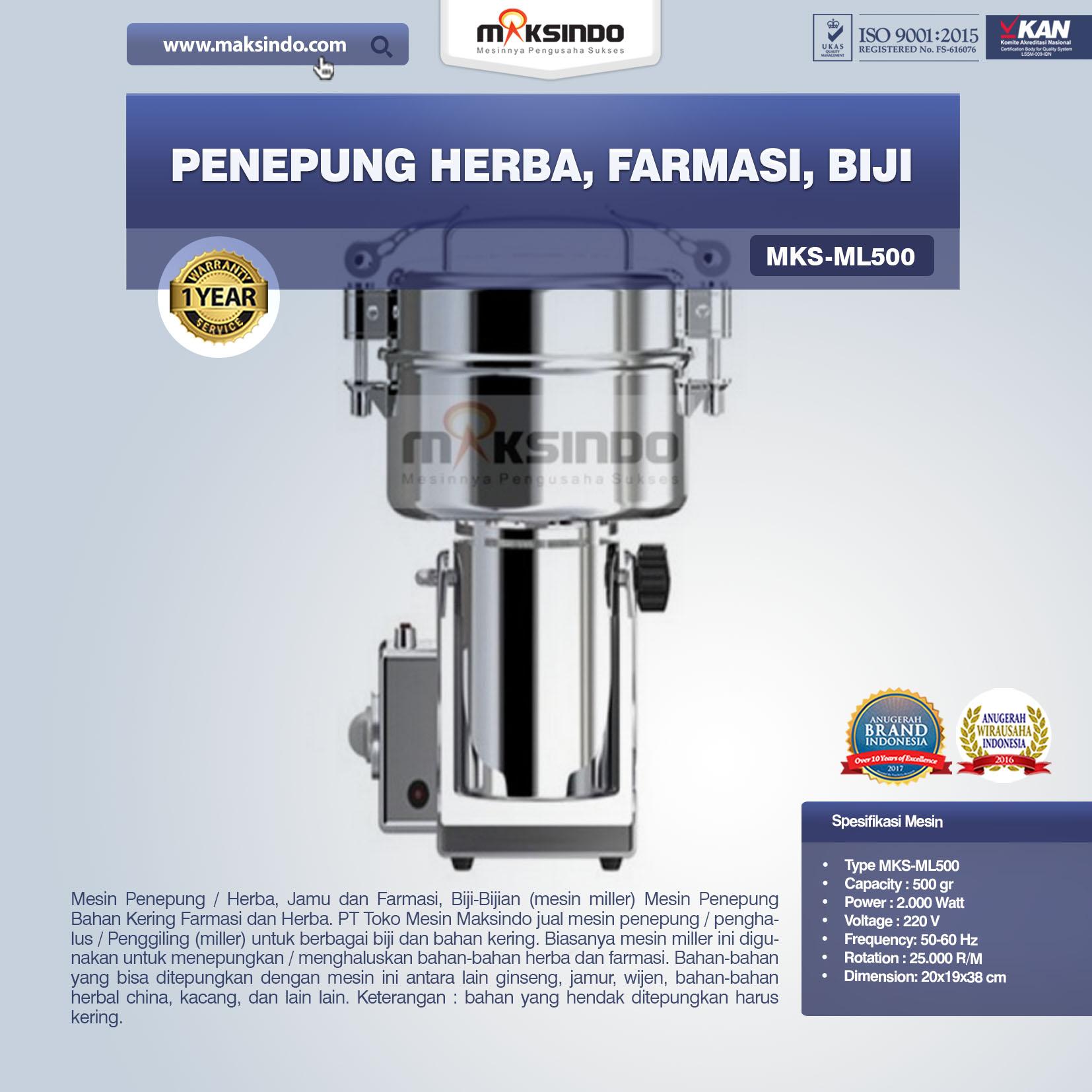 Jual Penepung Herba, Farmasi, Biji (ML500) di Tangerang