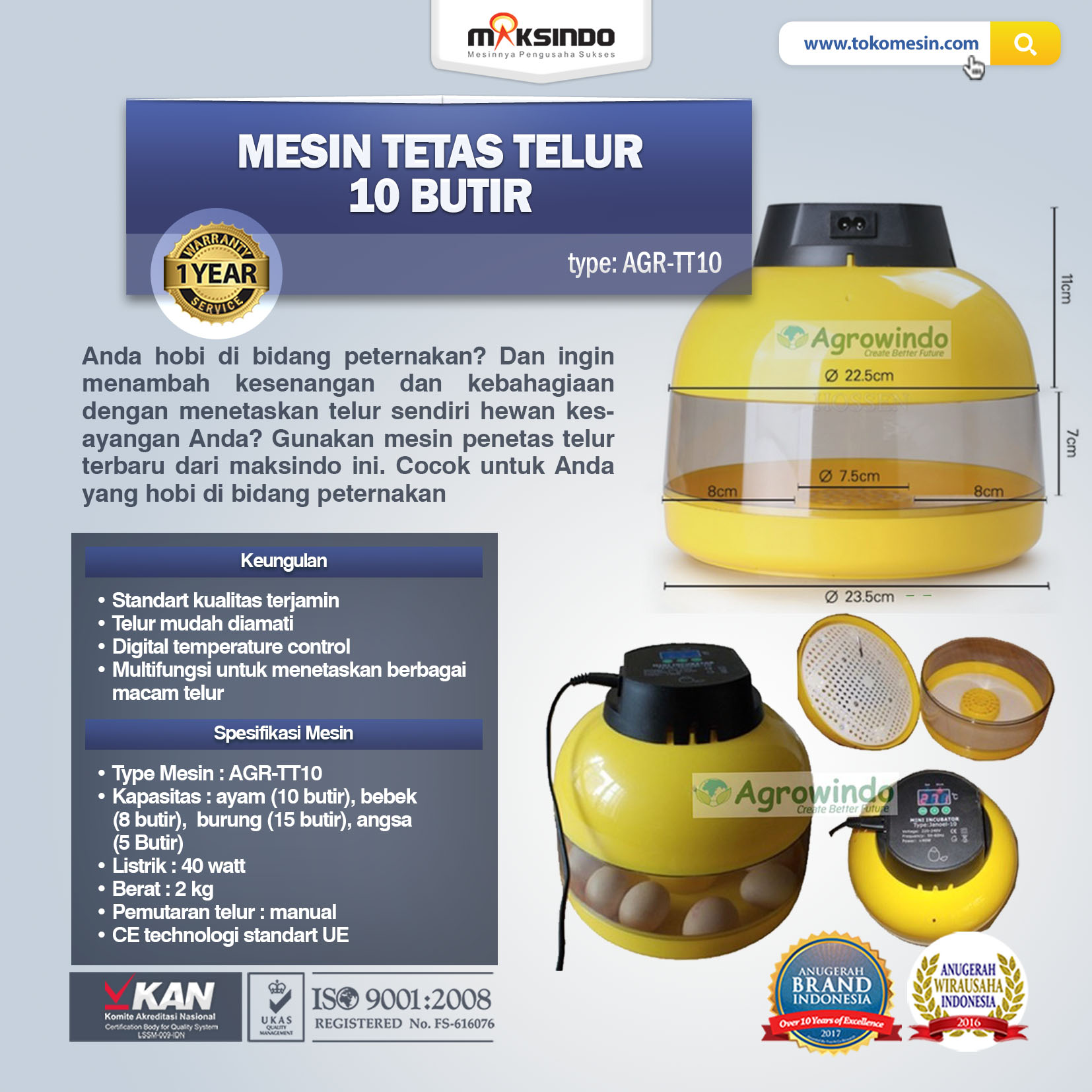 Jual Mesin Tetas Telur 10 Butir (AGR-TT-10) di Tangerang