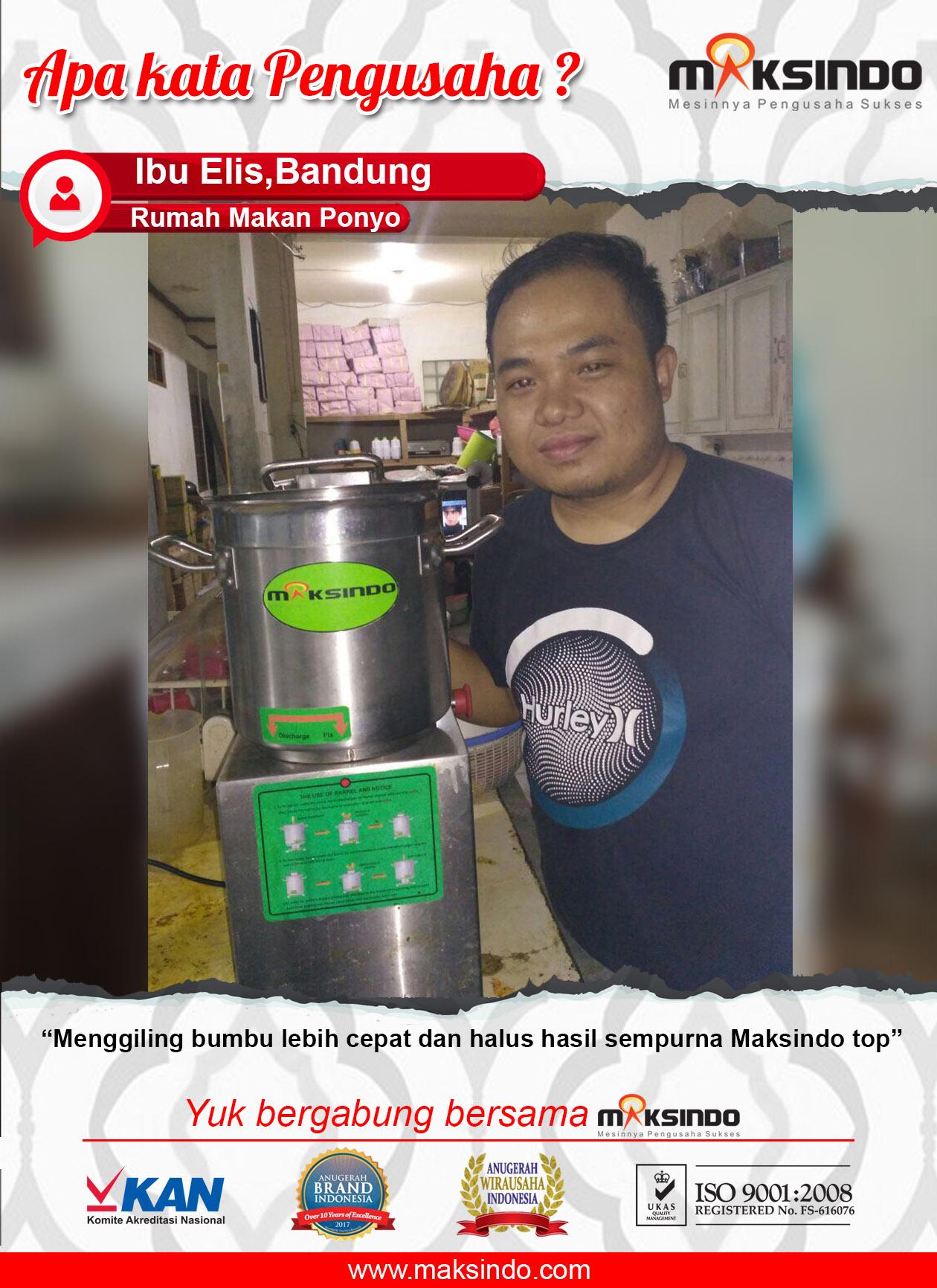 Rumah Makan Ponyo : Dengan Mesin Universal Fritter Maksindo Menggiling Bumbu Lebih Halus dan Cepat