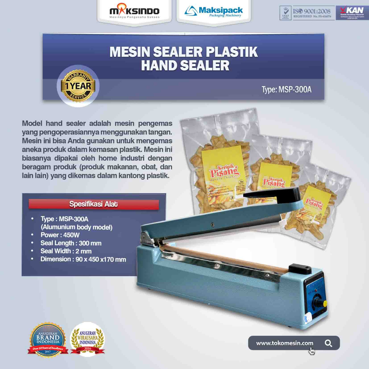 Jual Mesin Hand Sealer MSP-300A di Tangerang