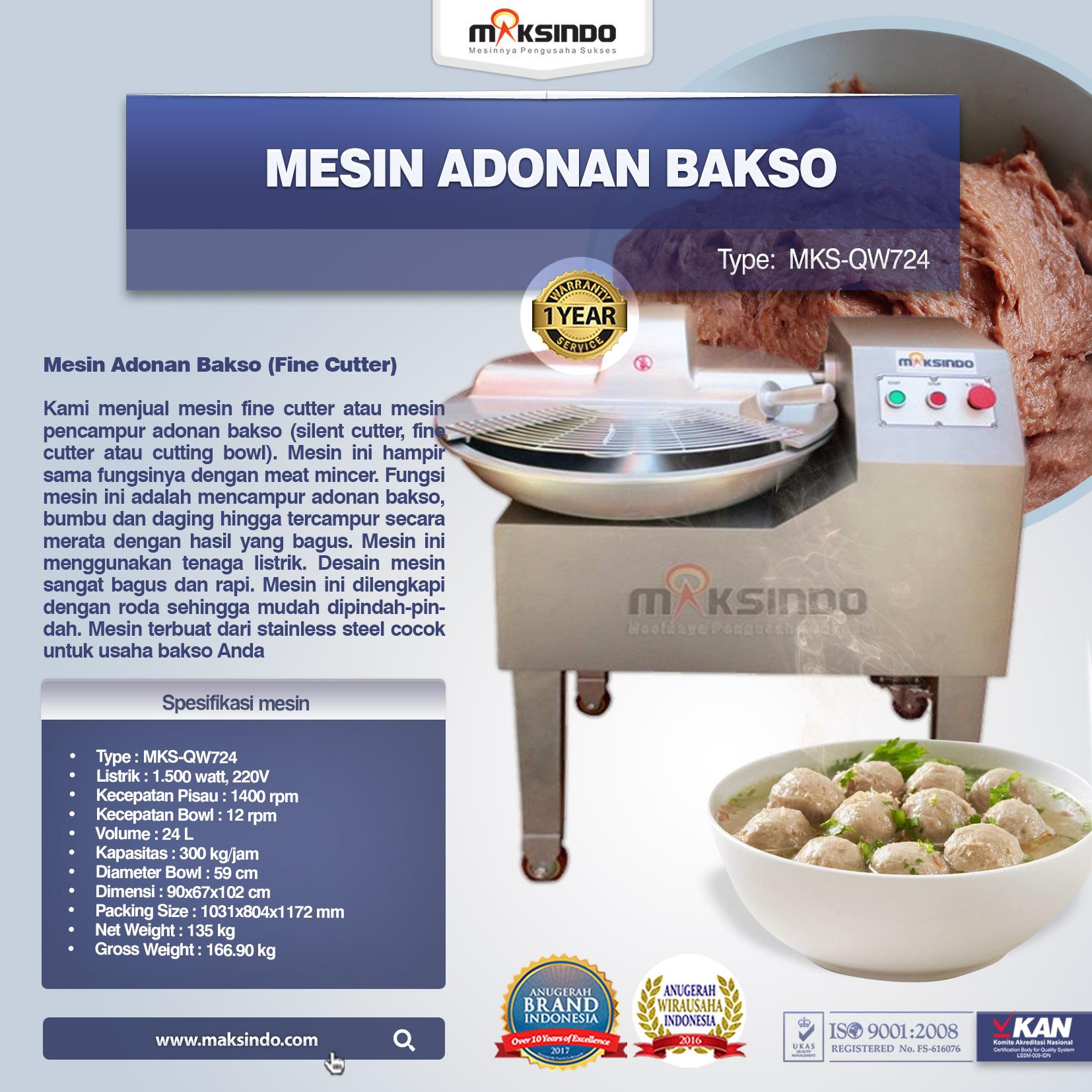 Jual Mesin Adonan Bakso (Fine Cutter) MKS-QW724 di Tangerang