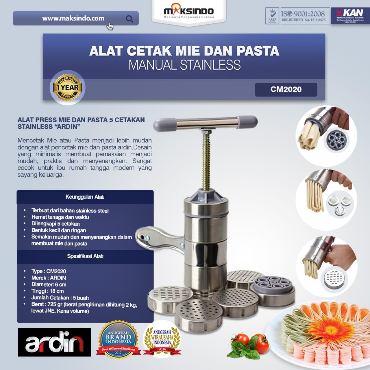 Jual Alat Cetak Mie dan Pasta Manual Stainless (ARDIN) CM2020 di Tangerang