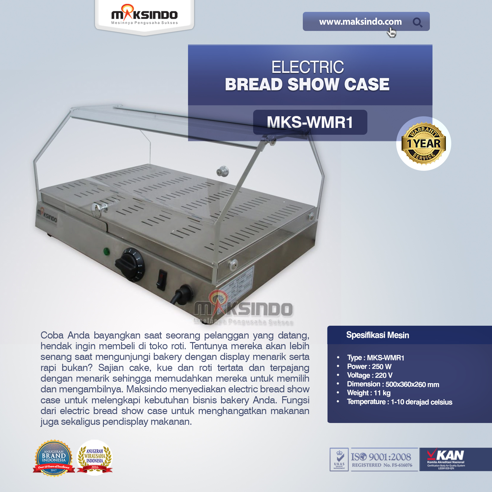 Jual Electric Bread Show Case MKS-WMR1 di Tangerang