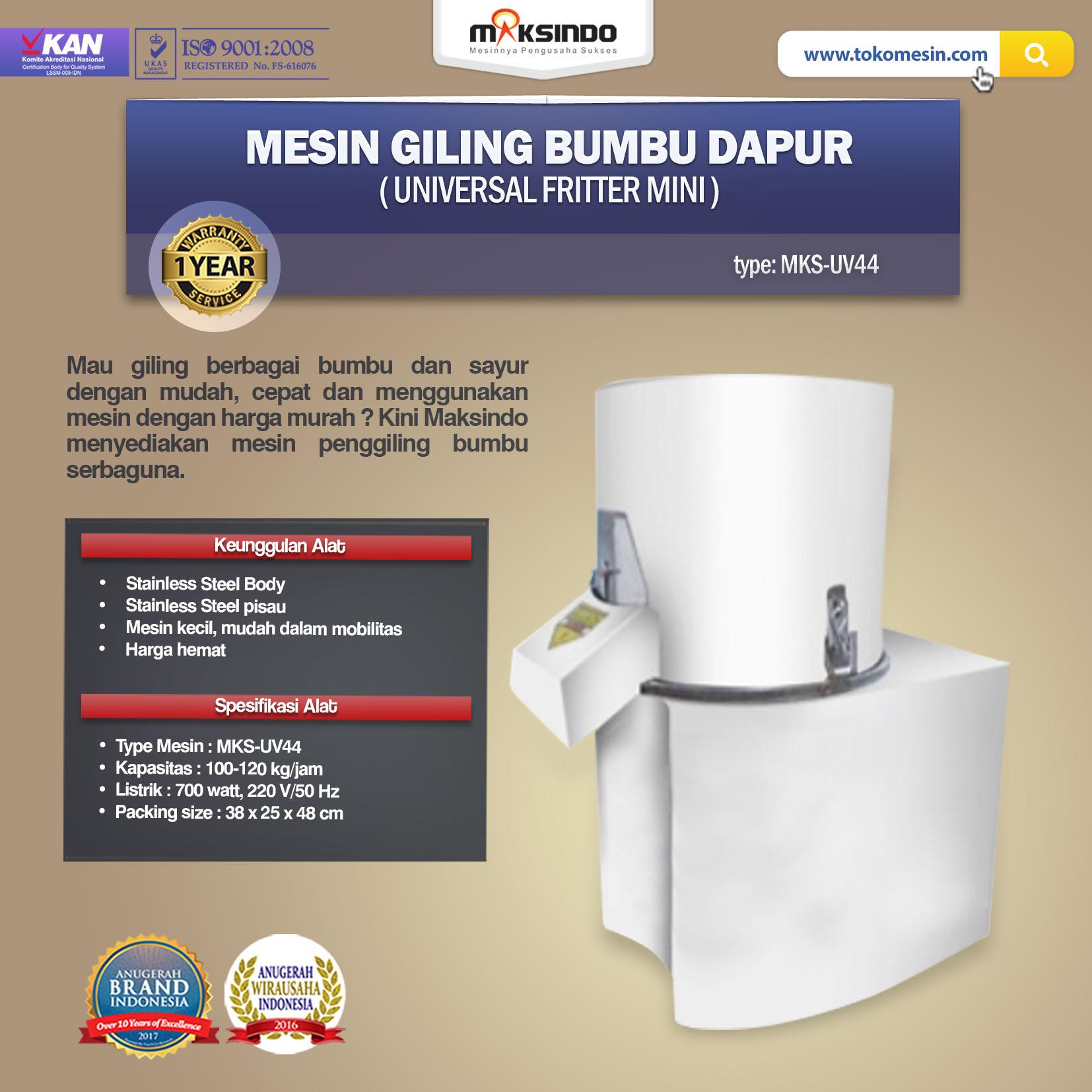 Jual Mesin Giling Bumbu Dapur (Universal Fritter Mini) MKS-UV44 di Tangerang