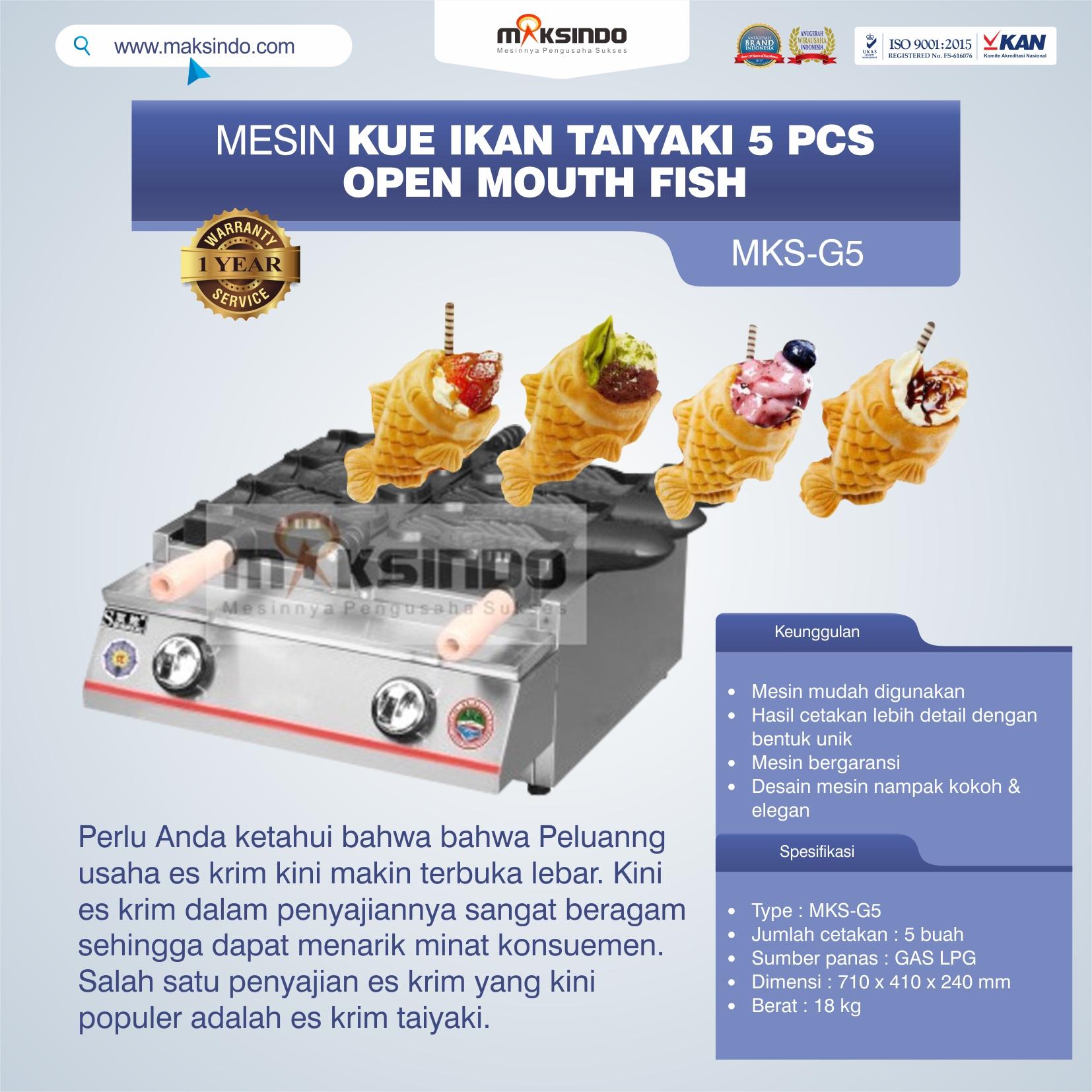 Jual Mesin Kue Ikan Taiyaki 5 Pcs – Open Mouth Fish MKS-G5 di Tangerang