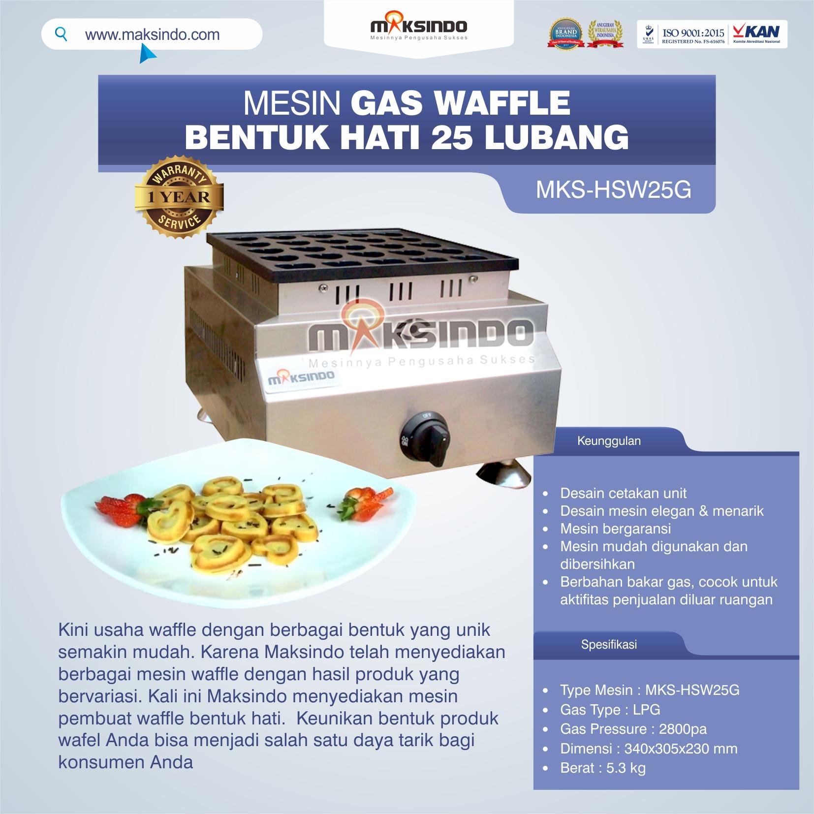 Jual Gas Waffle Bentuk Hati 25 Lubang MKS-HSW25G di Tangerang