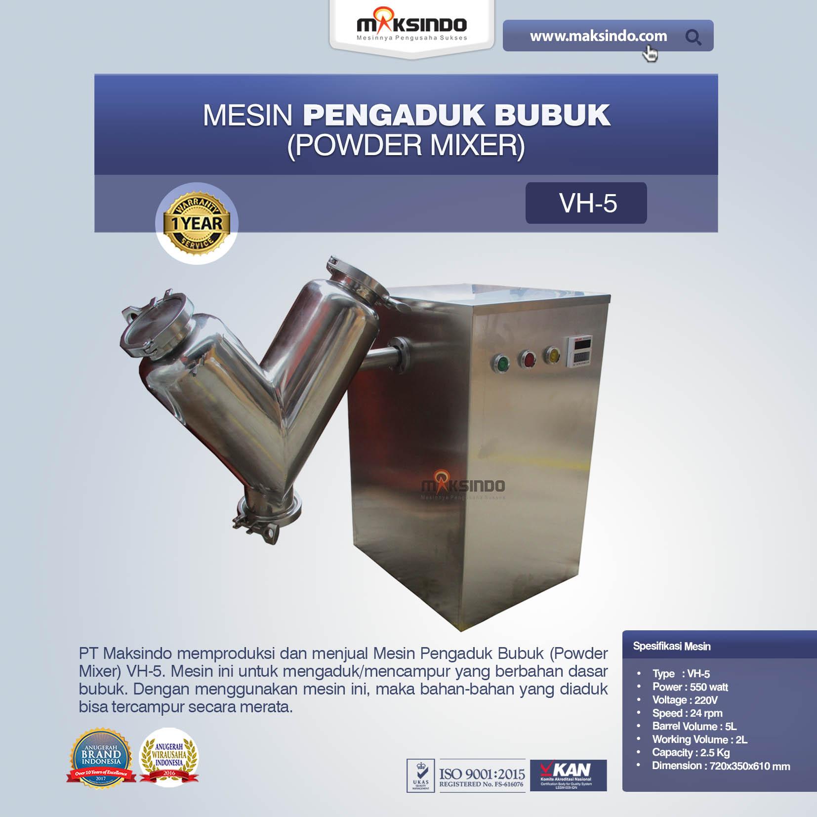 Jual Mesin Pengaduk Bubuk (Powder Mixer) VH-5 di Tangerang